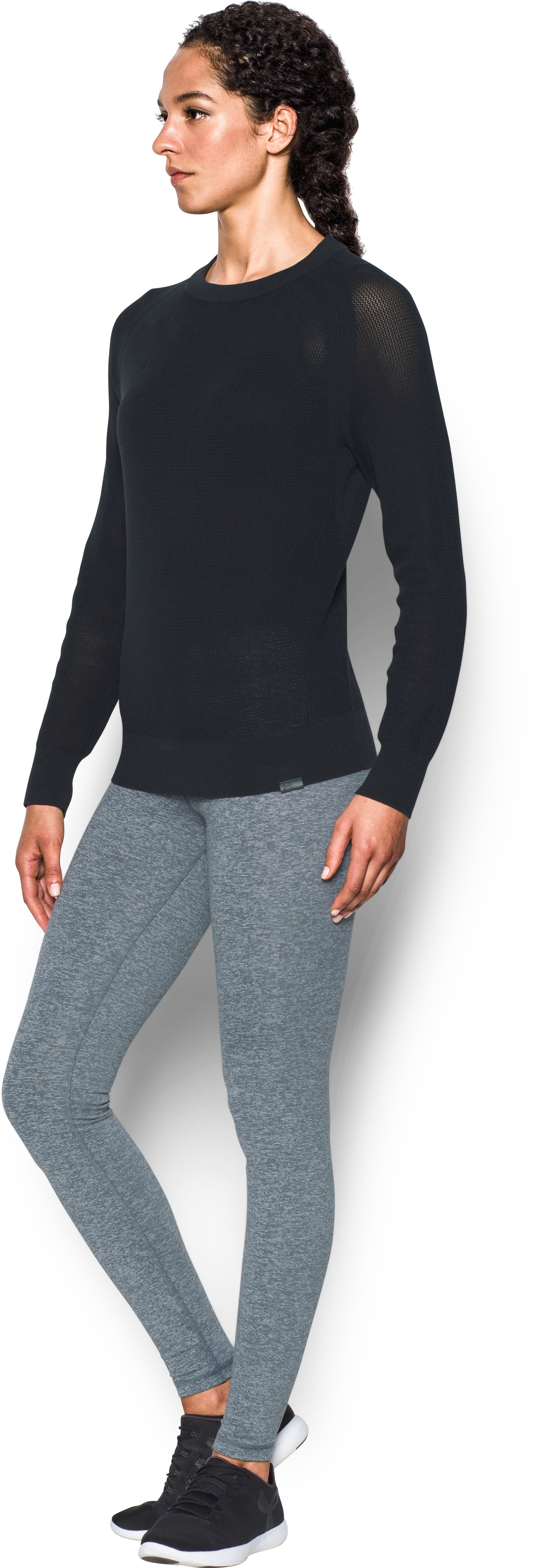 Women's UA Sweater Crew, Black , undefined