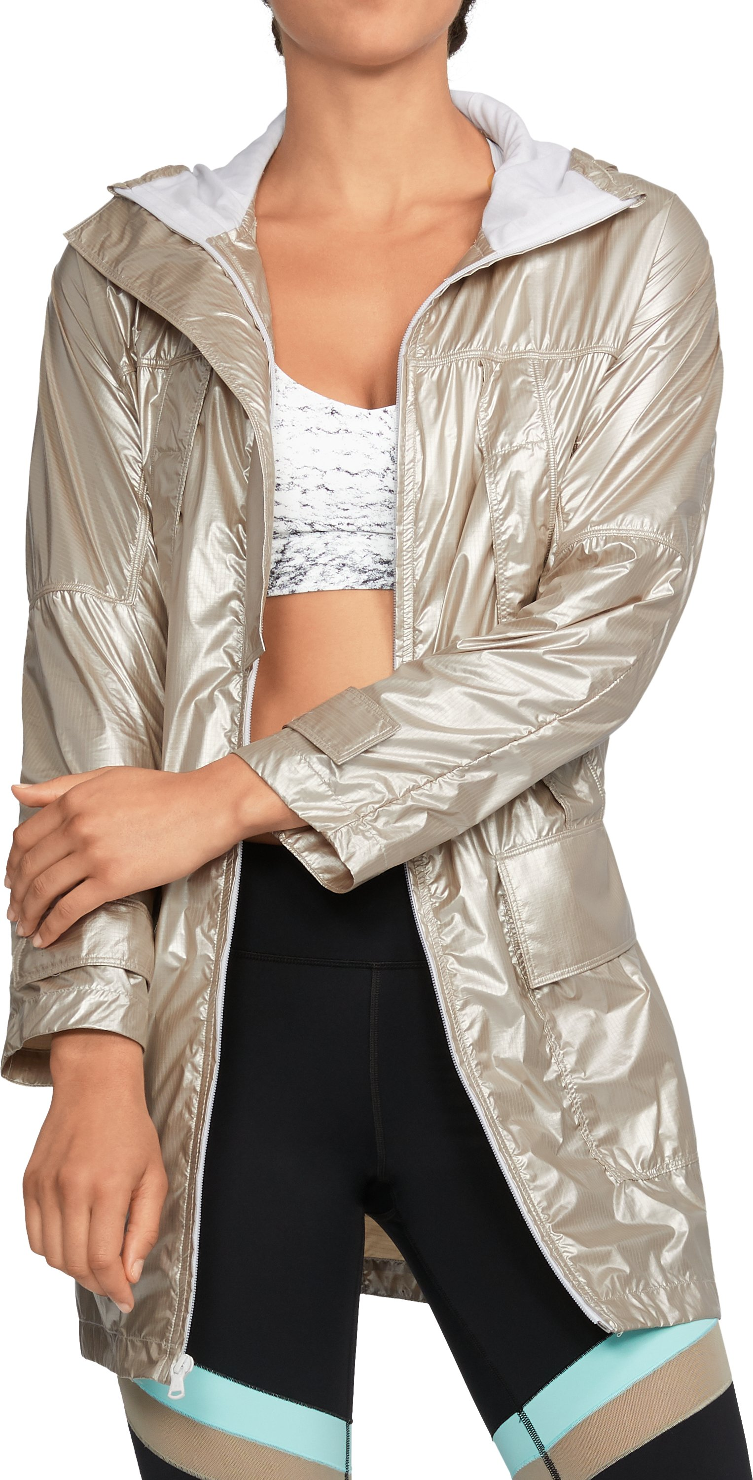 Women's UA Metallic Anorak Jacket, Metallic Gold, undefined