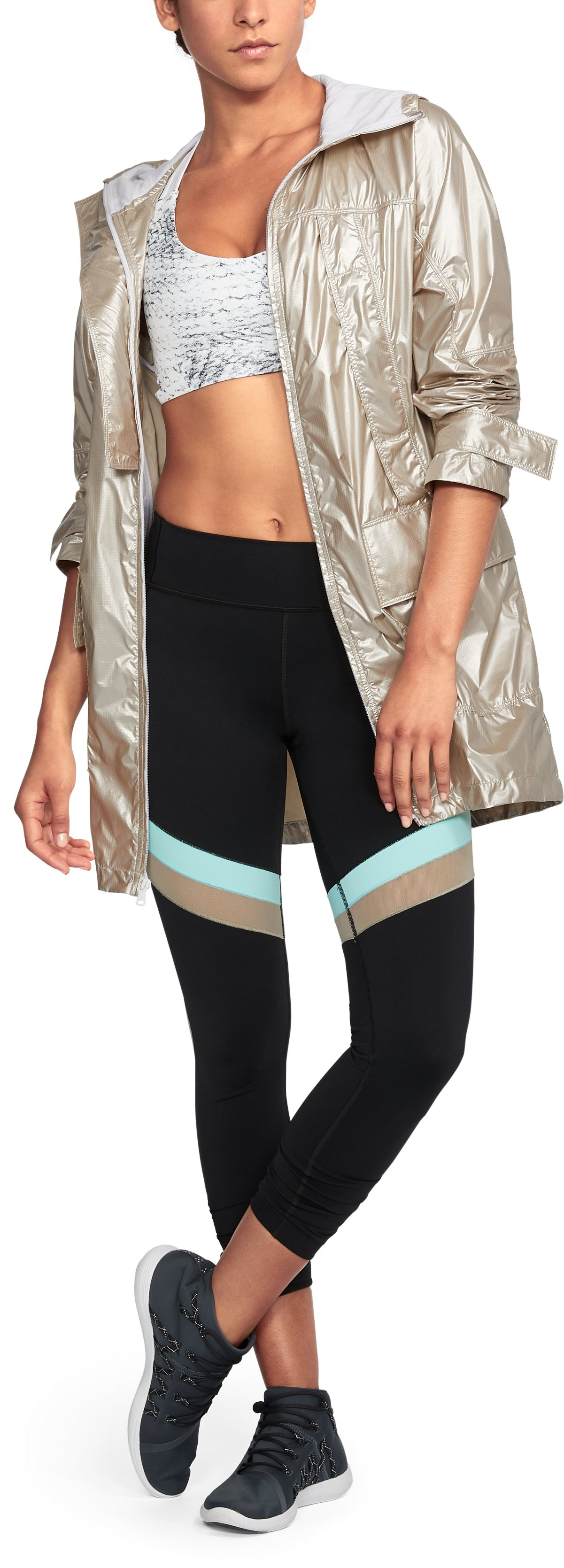 Women's UA Metallic Anorak Jacket, Metallic Gold,