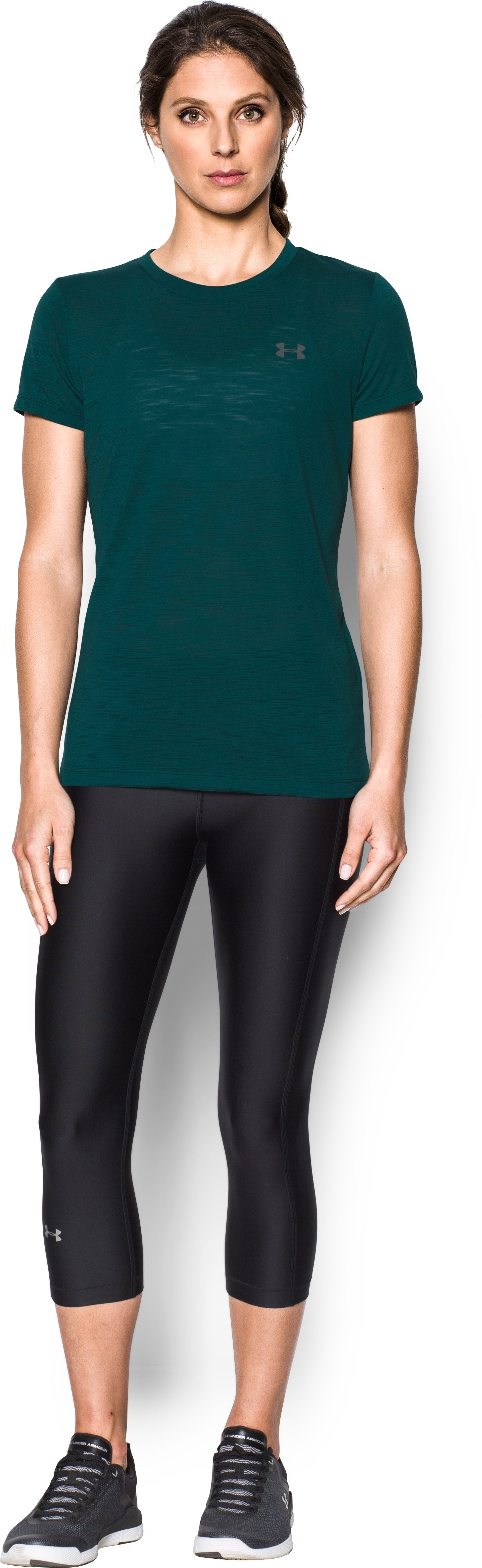 Women's UA Threadborne™ Train Slub T-Shirt, ARDEN GREEN, Front