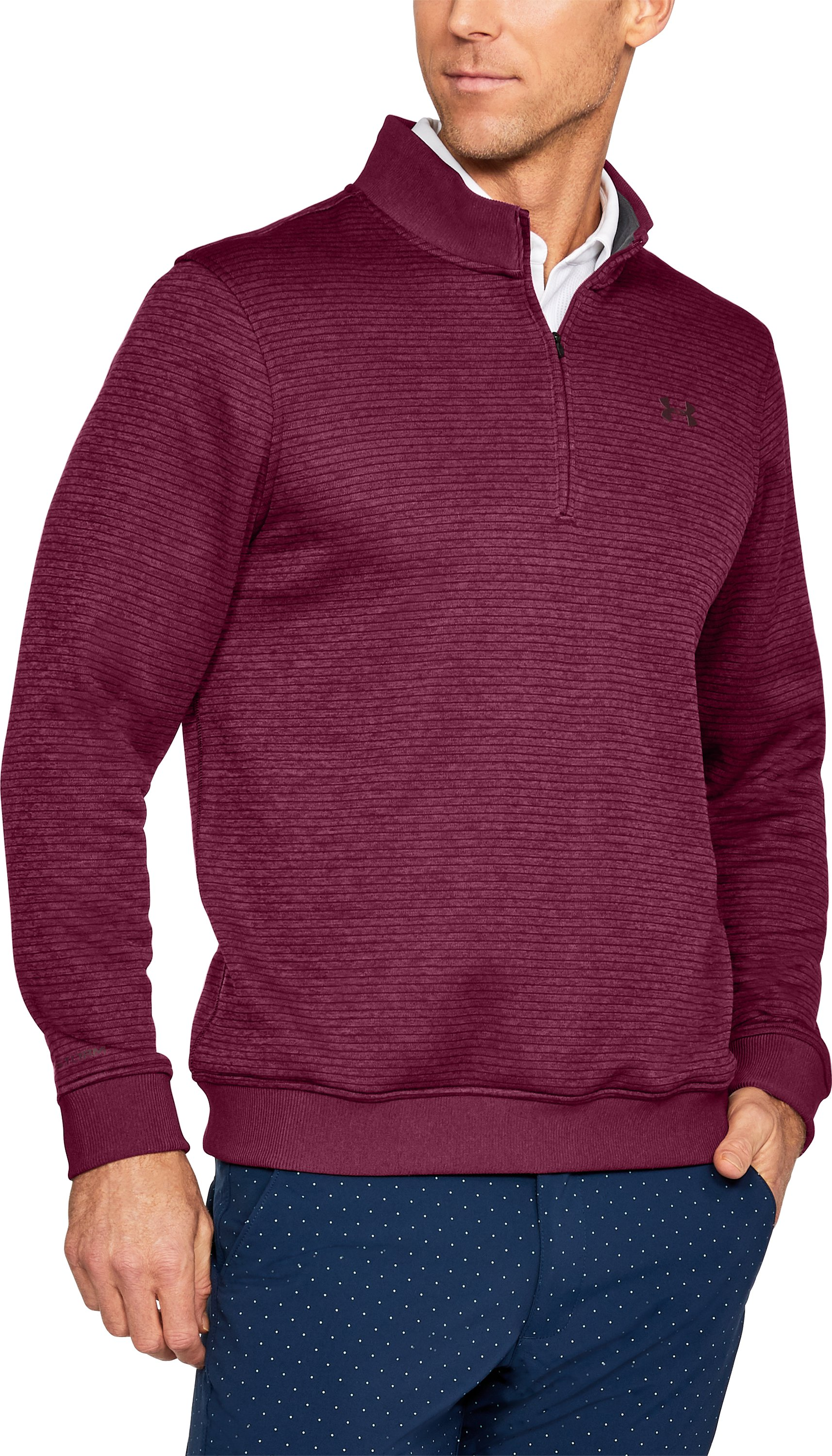 Men's UA Storm SweaterFleece Patterned ¼ Zip, BLACK CURRANT