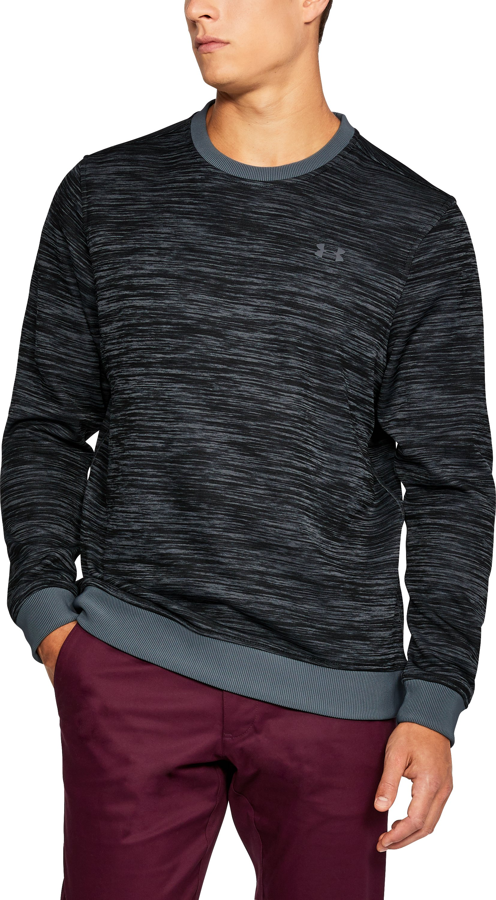 Men's UA Storm SweaterFleece Patterned Crew, RHINO GRAY