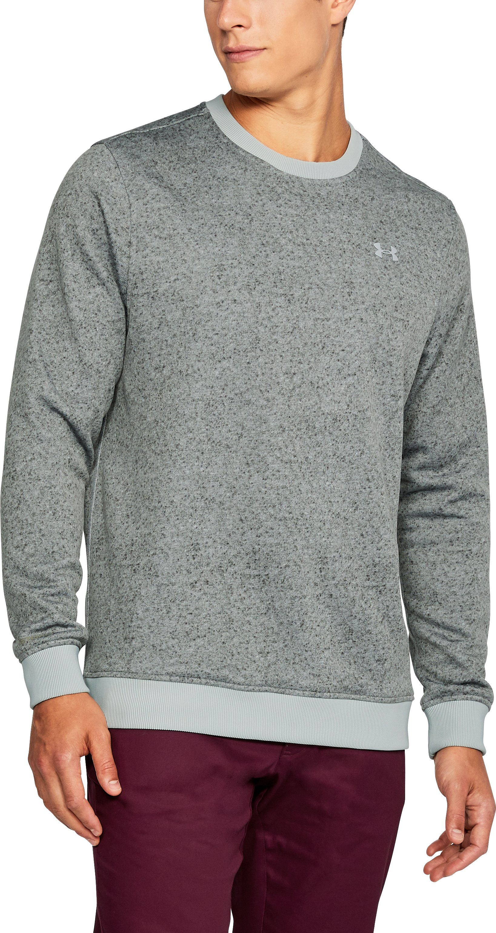 Men's UA Storm SweaterFleece Patterned Crew, OVERCAST GRAY, undefined