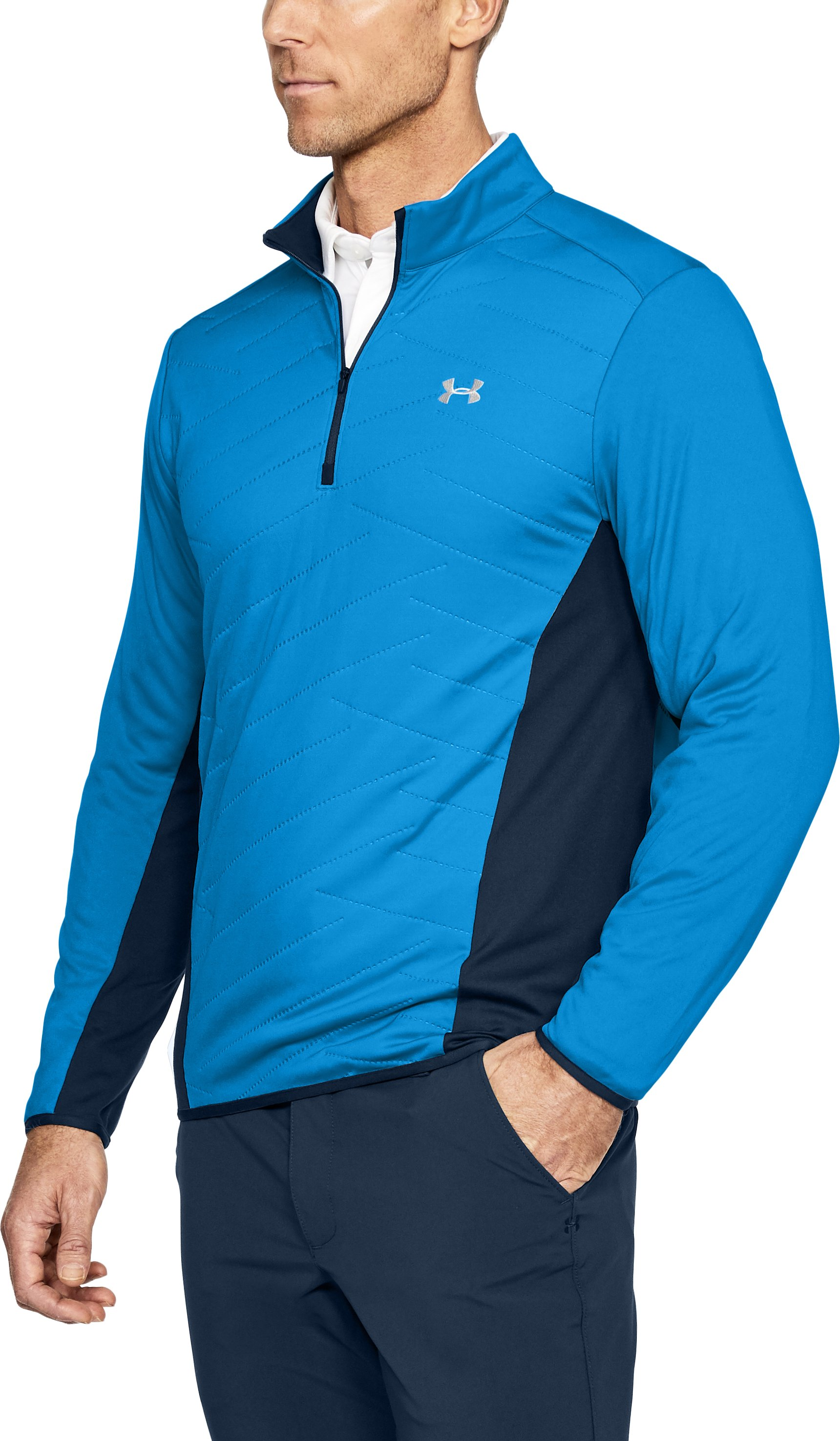 Men's ColdGear® Reactor Hybrid ½ Zip, MAKO BLUE