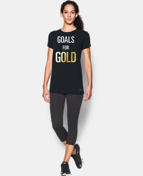 New Arrival Women's UA Stars & Stripes Gold Short Sleeve T-Shirt LIMITED TIME: FREE SHIPPING  $24.99