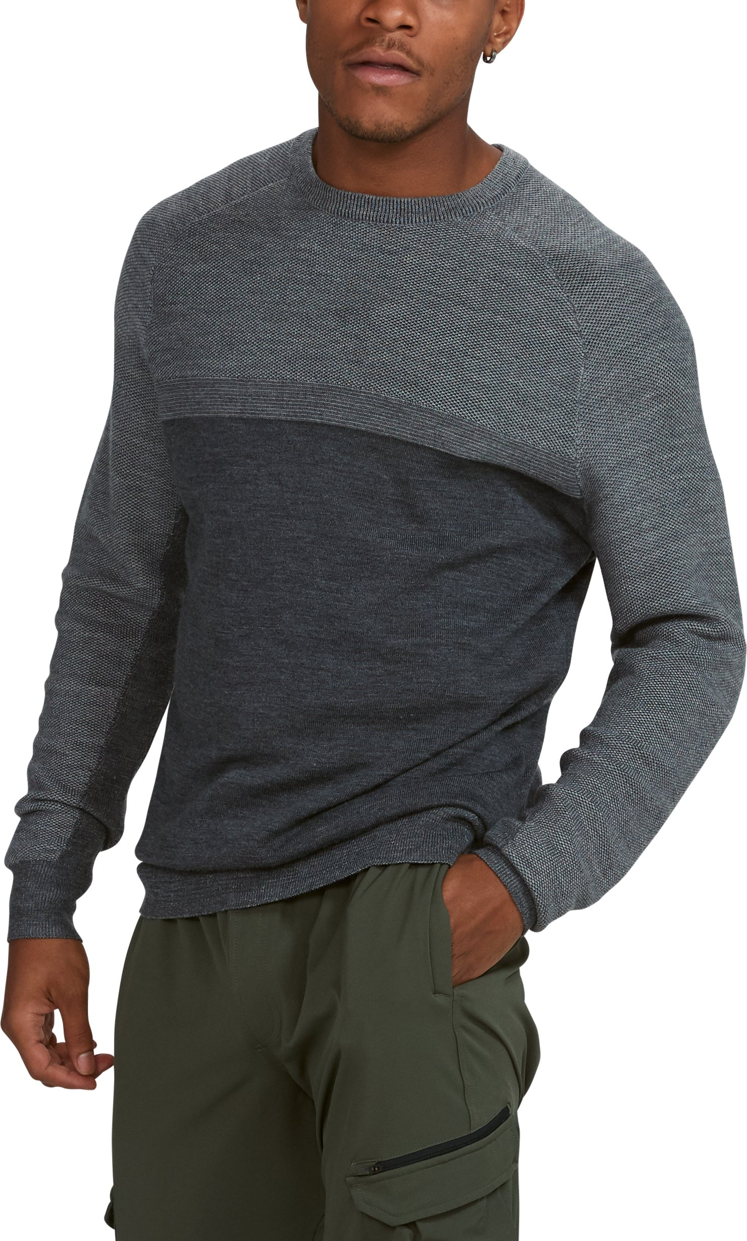 Men's UA Threadborne Crew Sweater, Carbon Heather,