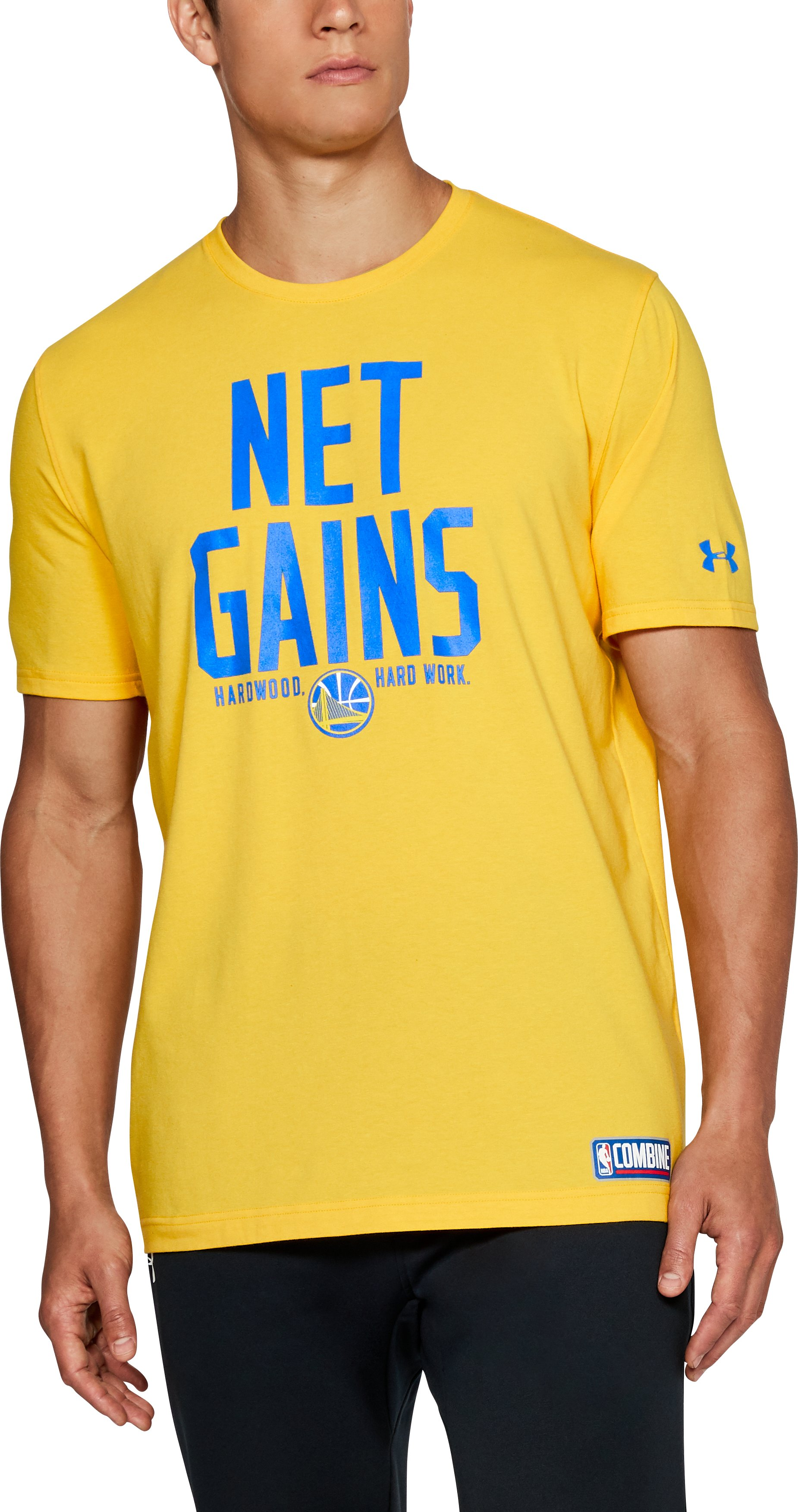 Men's NBA Combine UA HWD Net Gains T-Shirt , NBA_GOLDEN STATE WARRIORS_YIELD YELLOW, undefined
