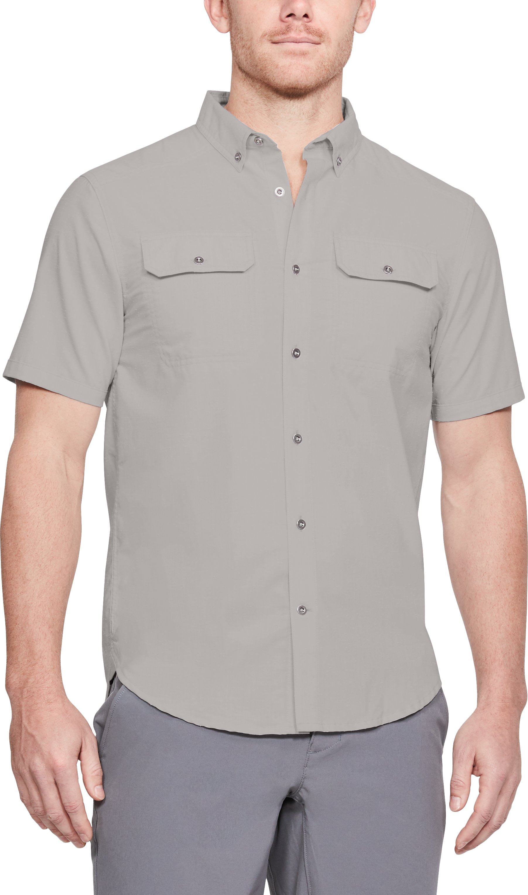 Men's UA Microthread Grit Woven Short Sleeve Button Down, GHOST GRAY