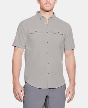 New Arrival Men's UA Threadborne Grit Woven Short Sleeve Button Down   $70