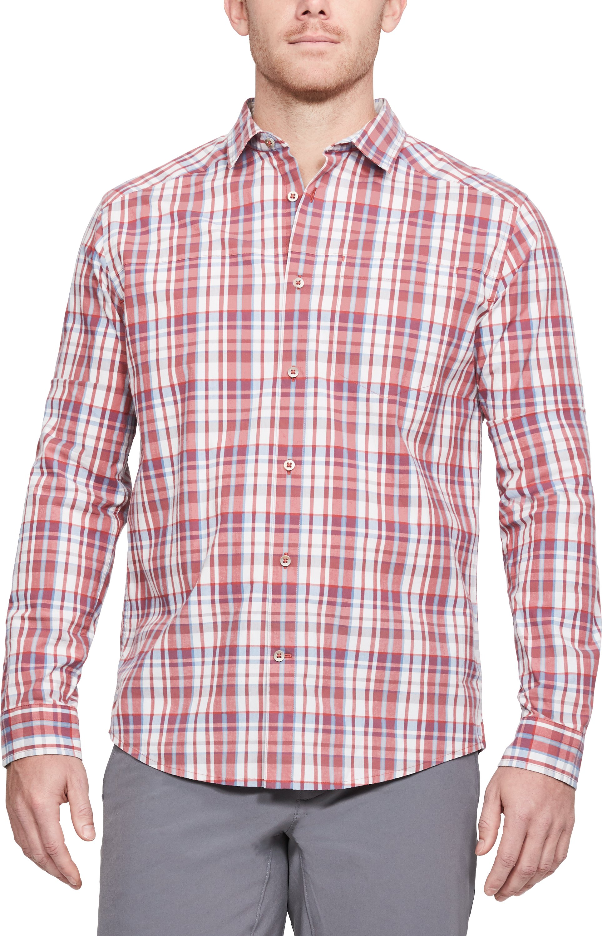 Men's UA Legacy Woven Long Sleeve Button Down, RUSTIC RED,