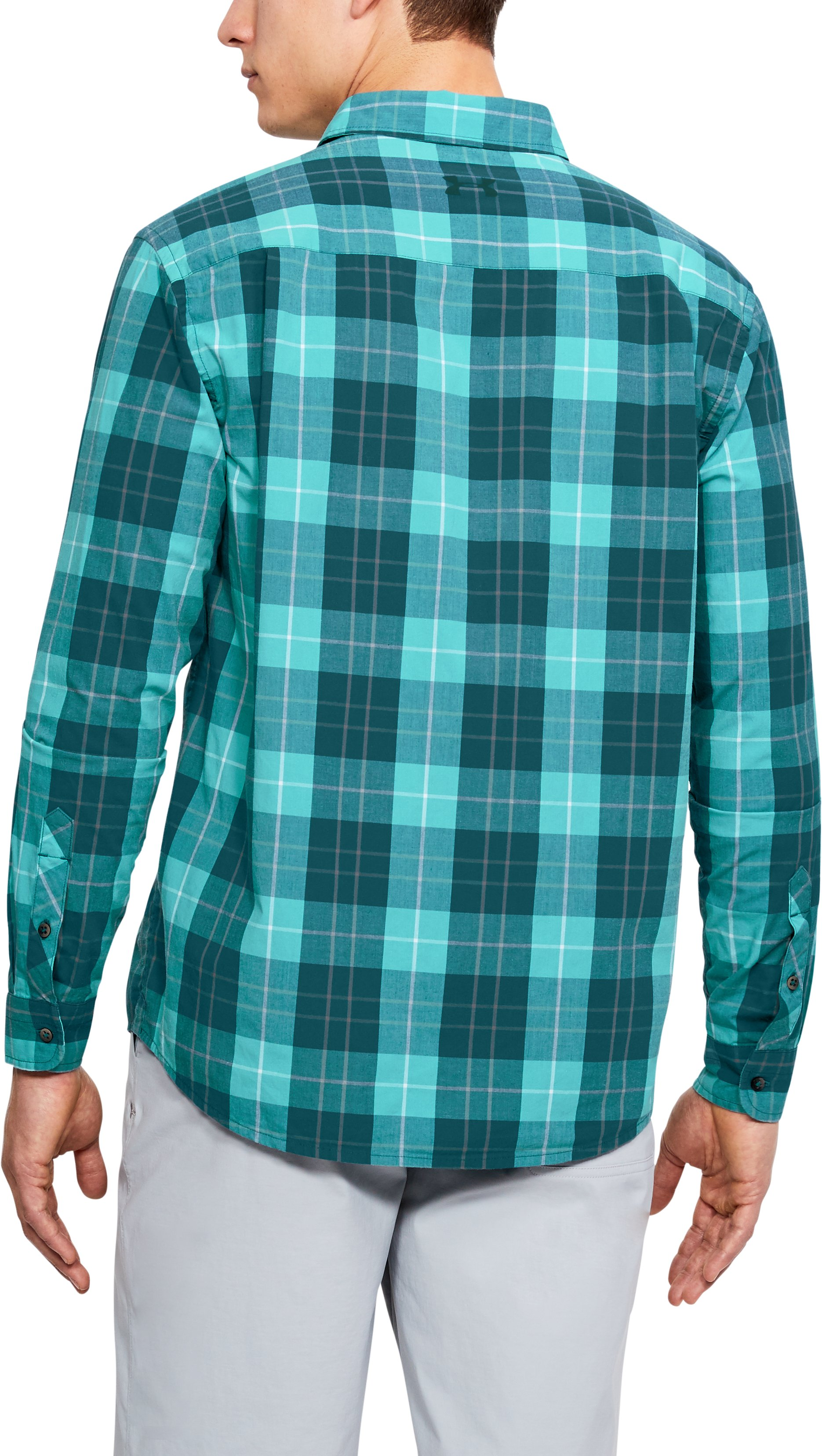 Men's UA Legacy Woven Long Sleeve Button Down, TOURMALINE TEAL,