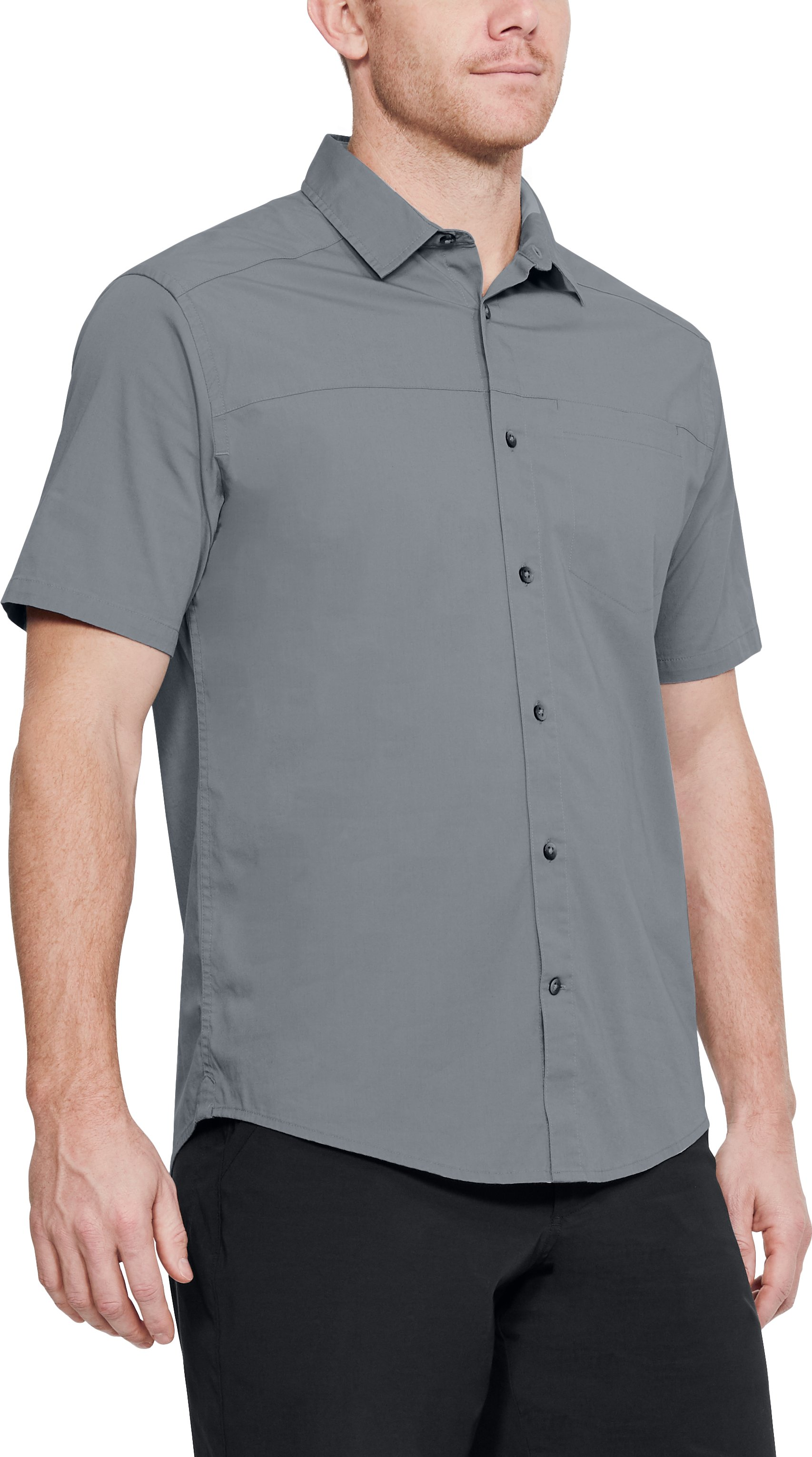 Men's UA Pierpoint Woven Short Sleeve Button Down, Steel
