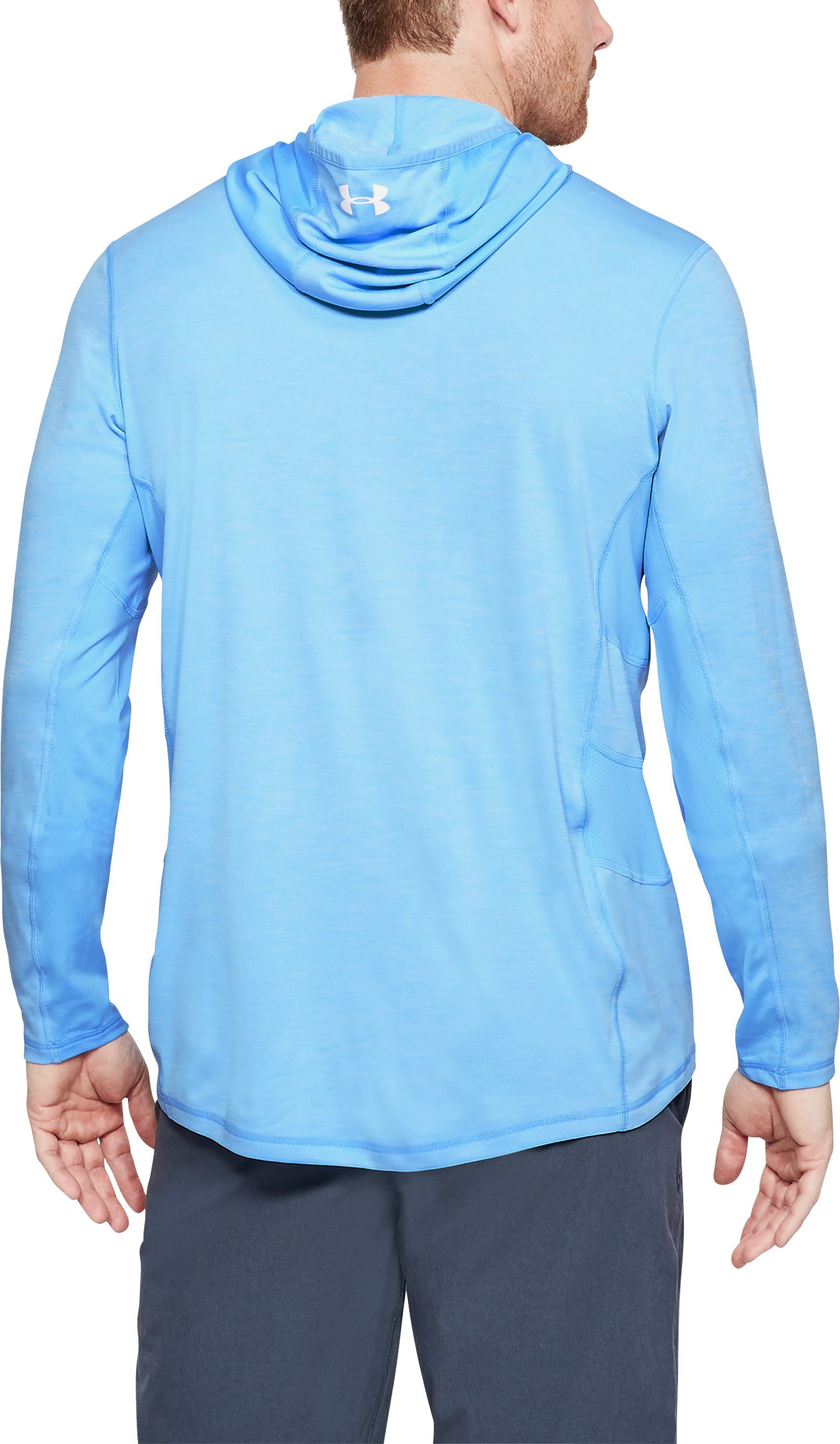 Men's UA Fish Hunter Tech Hoodie, CAROLINA BLUE LIGHT HEATHER,