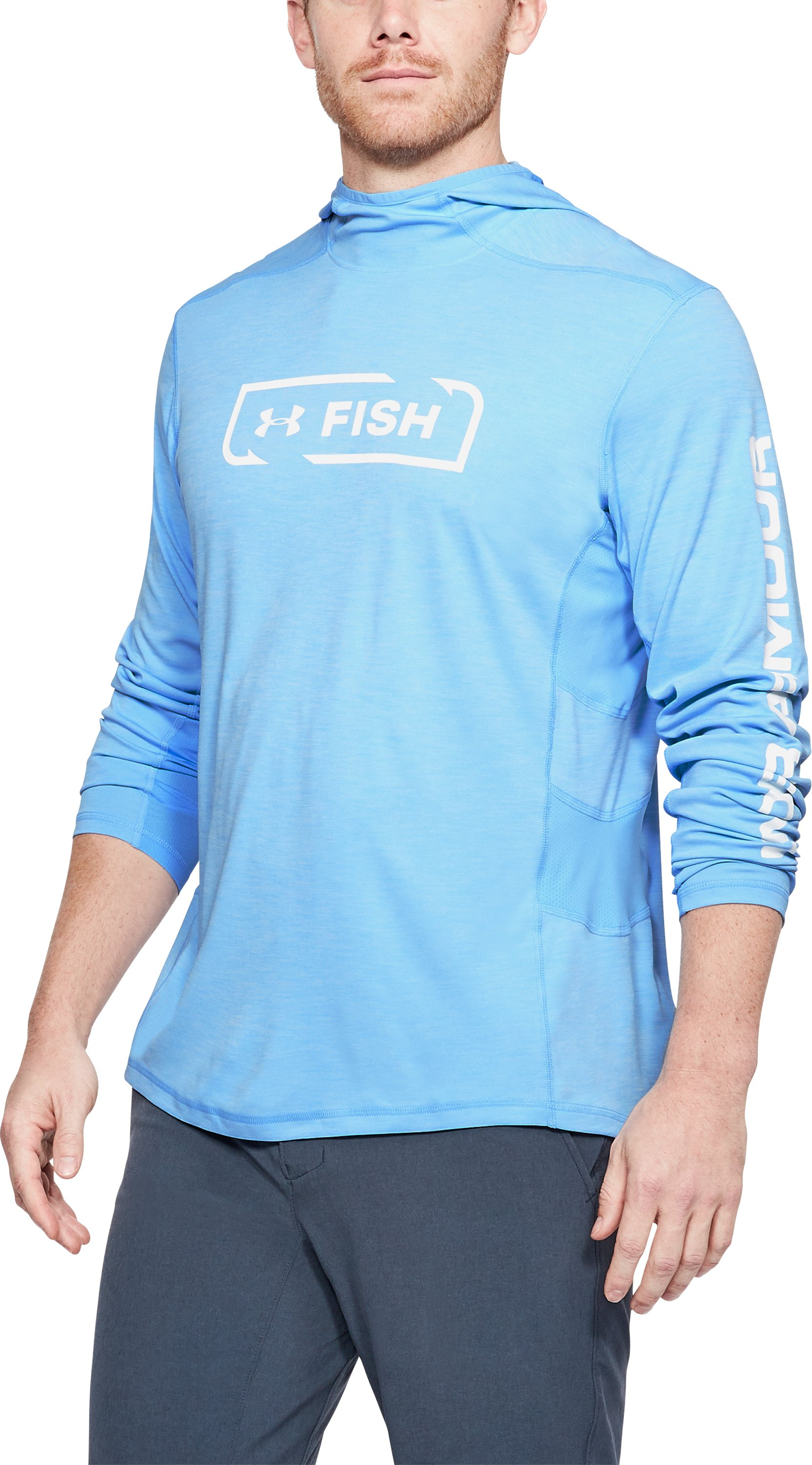 Men's UA Fish Hunter Tech Hoodie, CAROLINA BLUE LIGHT HEATHER