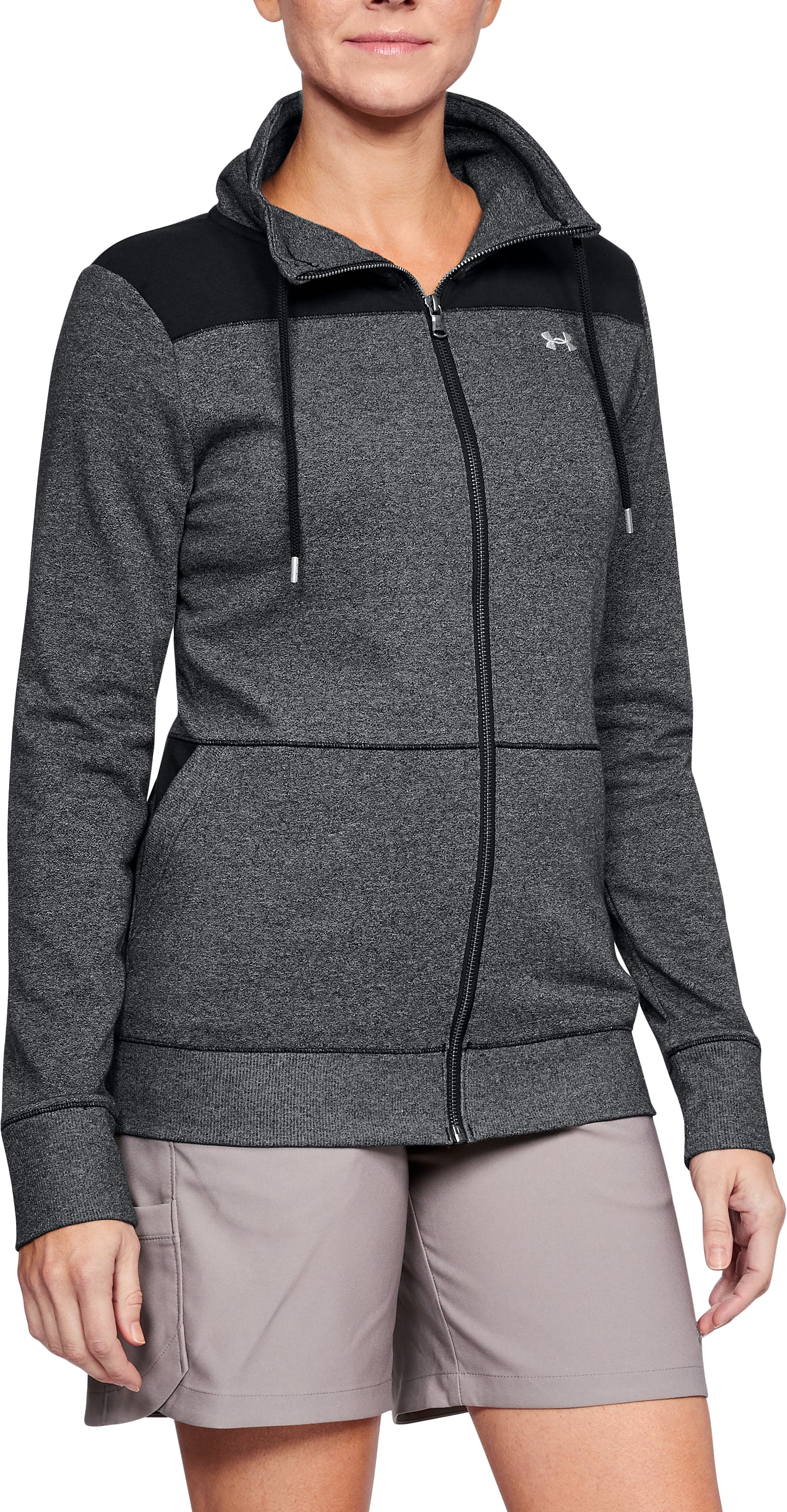 Women's UA Microthread Shoreline Terry Full Zip, Black