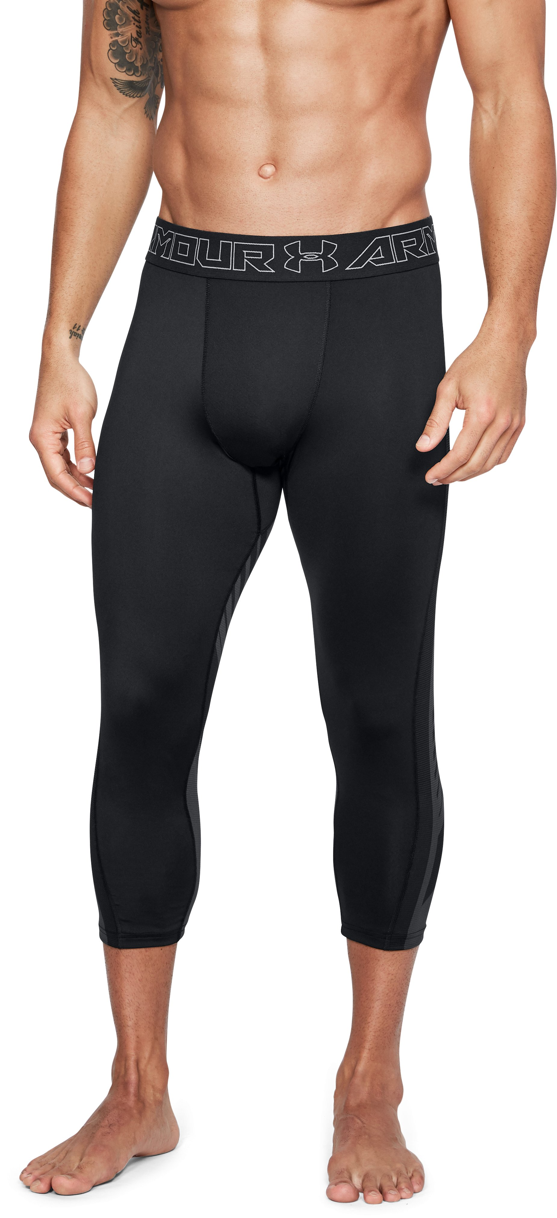 Men's UA x Project Rock SuperVent Armour ¾ Leggings, Black ,