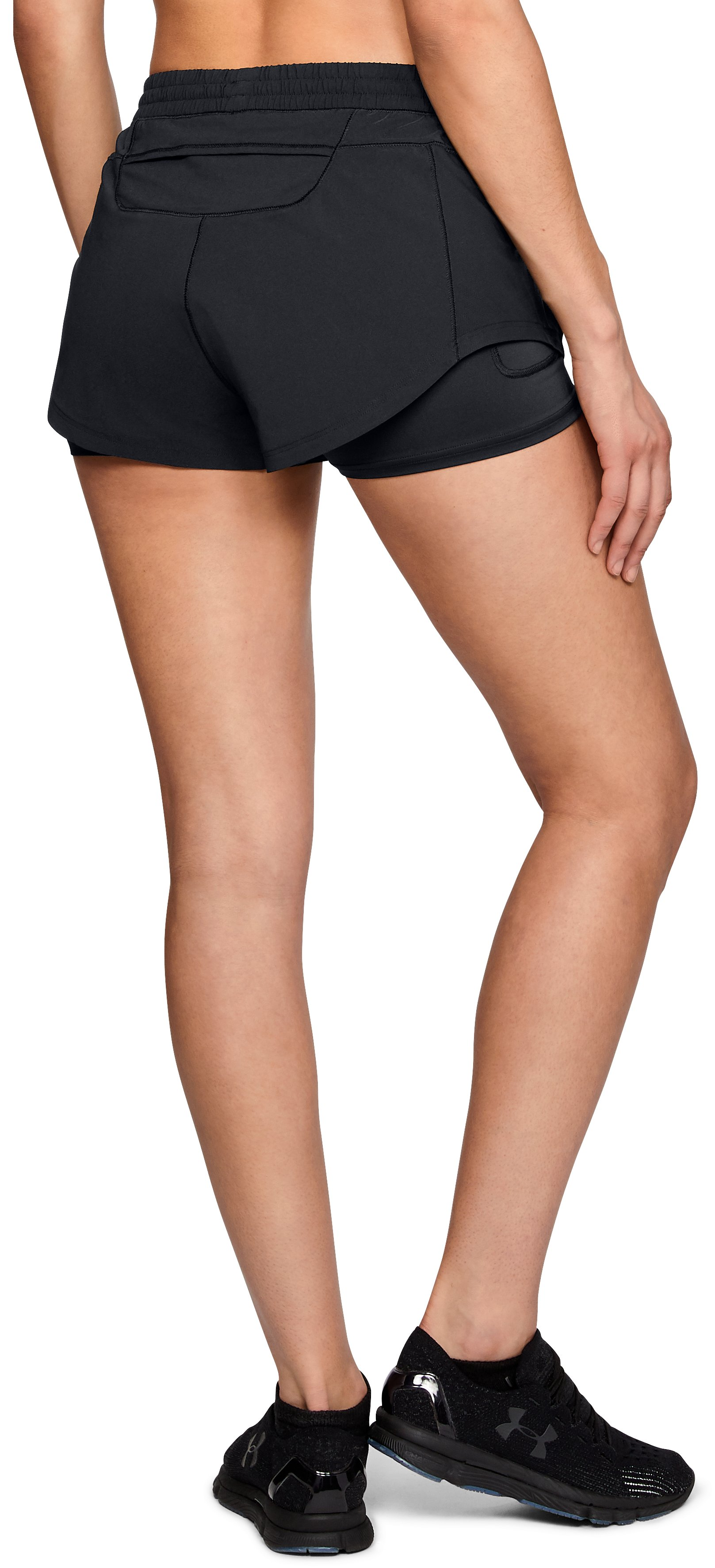 Women's UA Stretch Woven 2-in-1 Run Shorts, Black ,