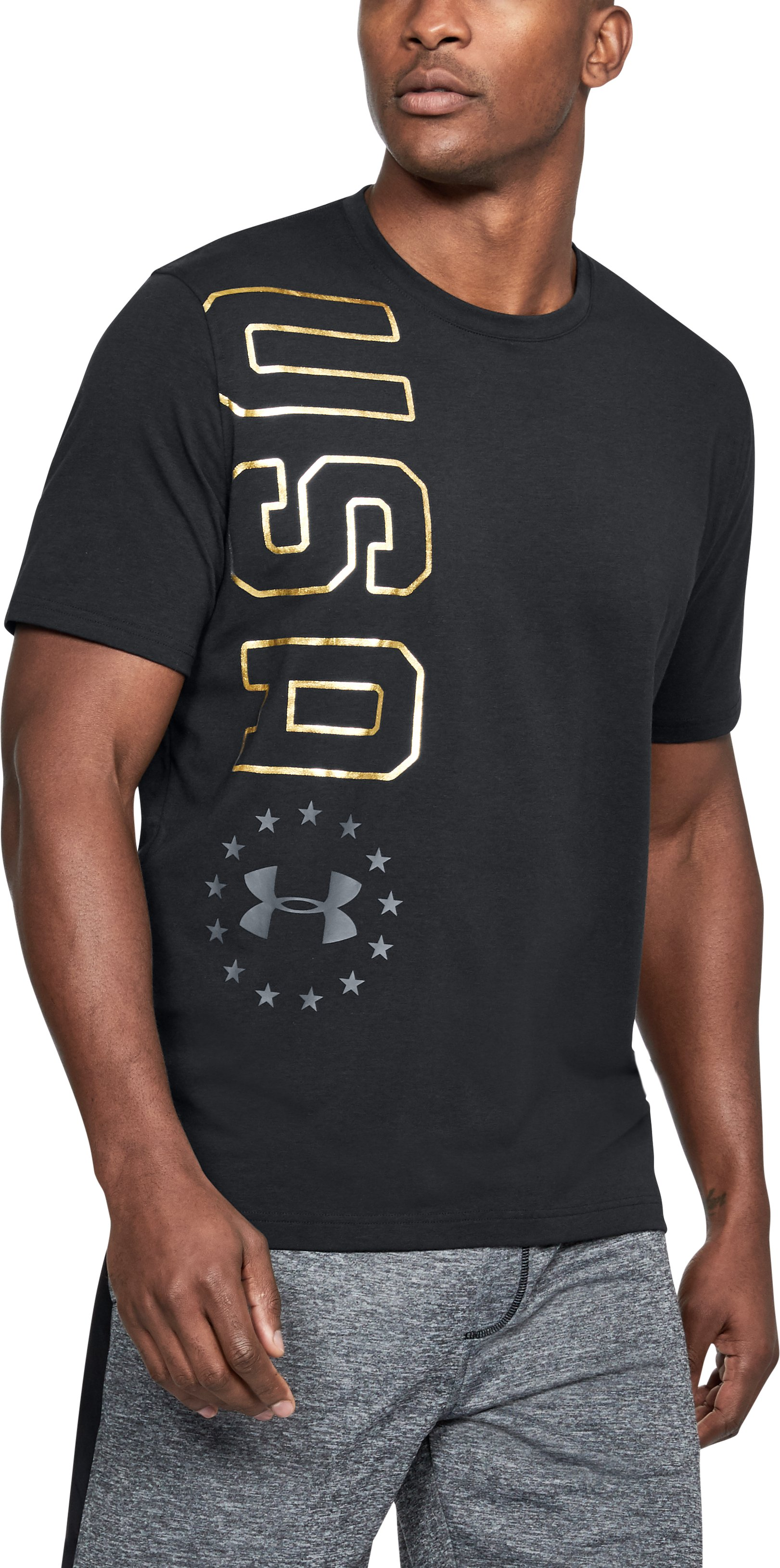 Men's UA Freedom USA Vertical T-Shirt, Black ,
