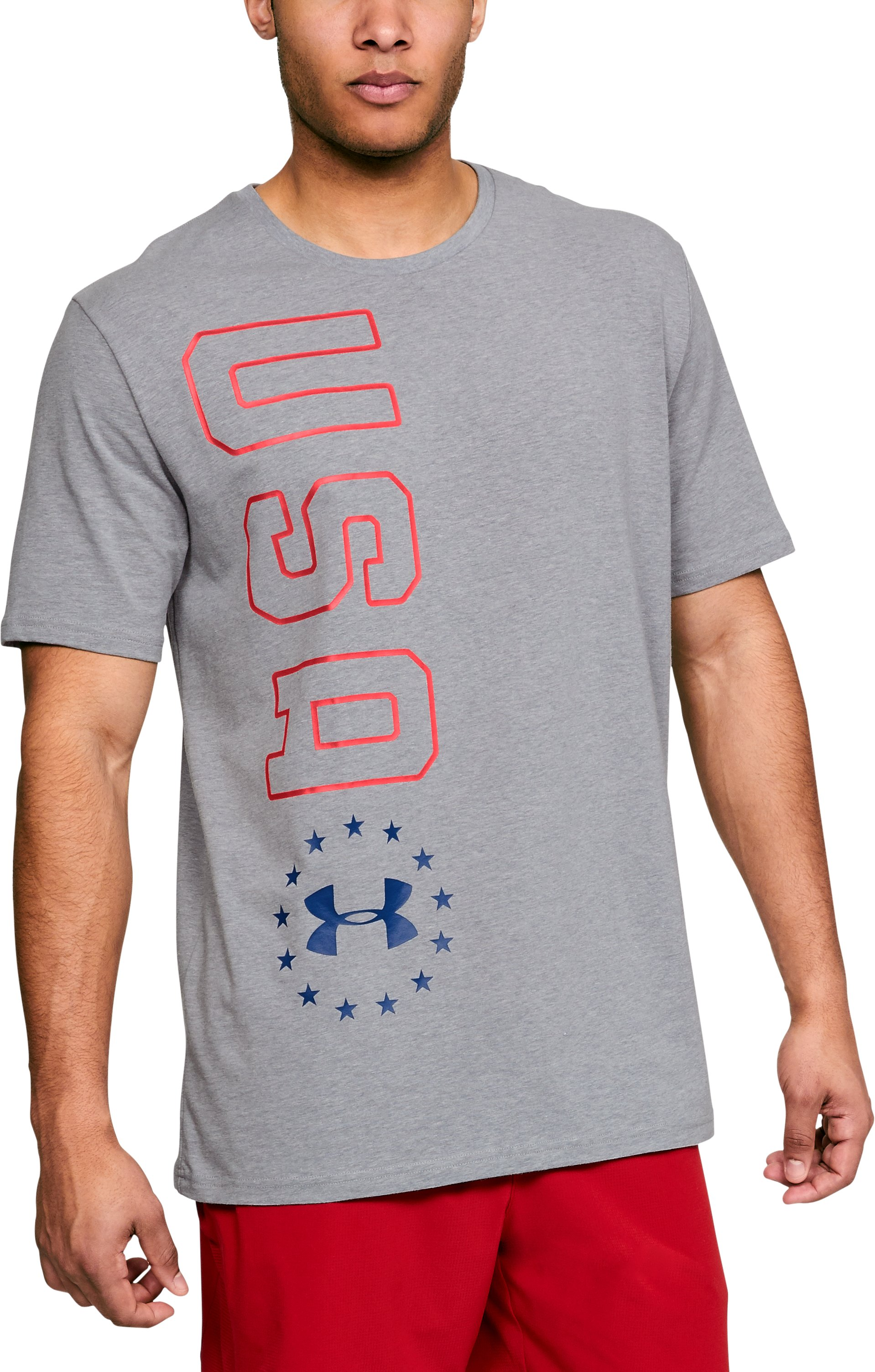 Men's UA Freedom USA Vertical T-Shirt, STEEL LIGHT HEATHER,