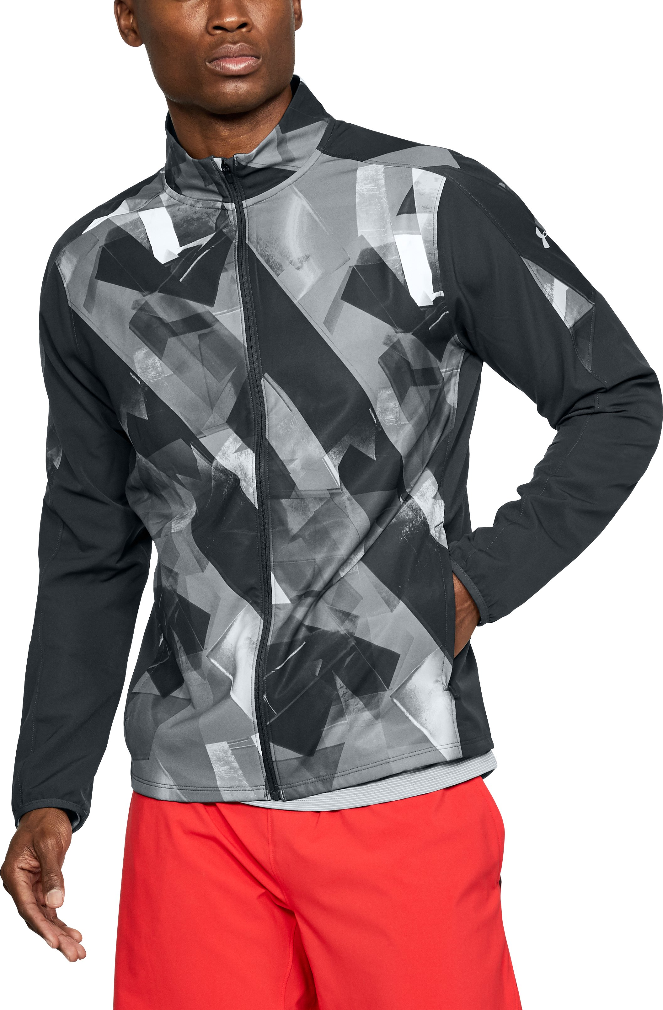Men's UA Storm Launch Printed Jacket, ANTHRACITE,