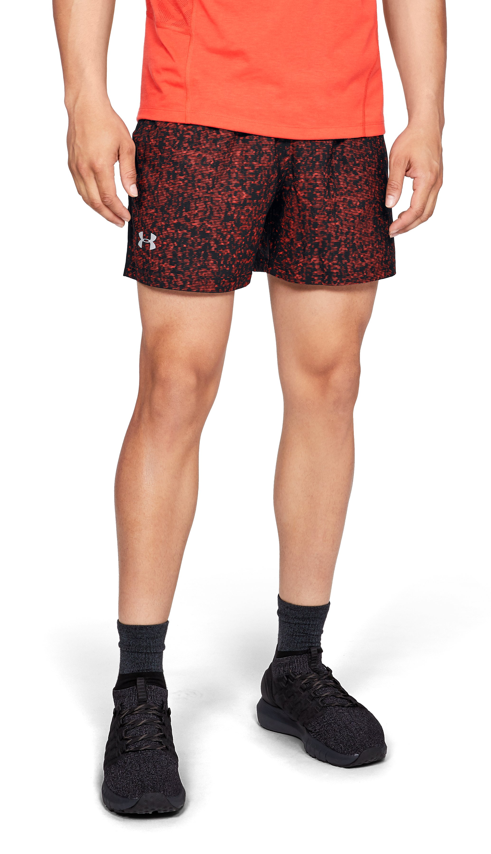 "Men's UA Launch SW 5"" Printed Shorts, Black"
