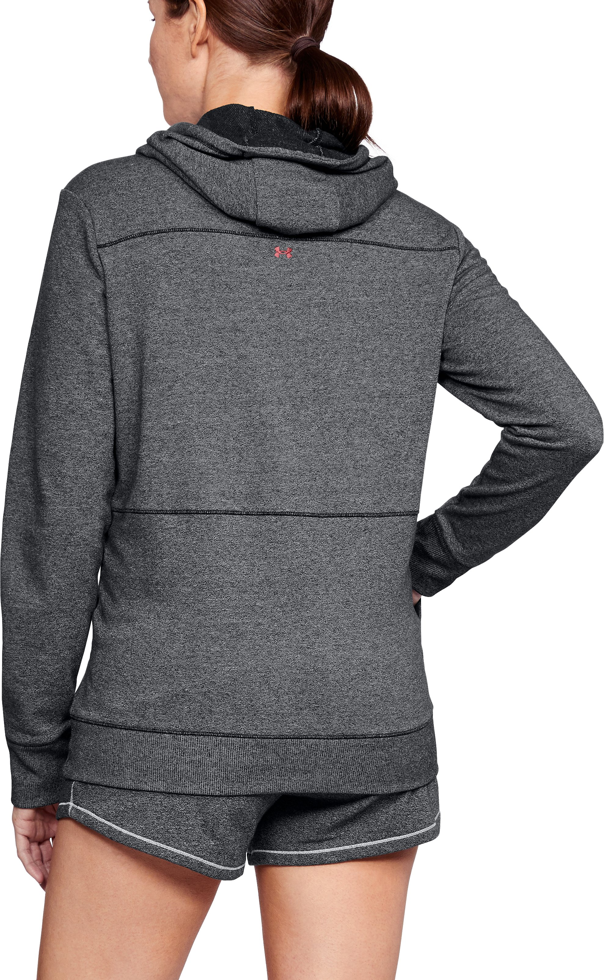 Women's UA Freedom Microthread Hoodie, BLACK MEDIUM HEATHER,