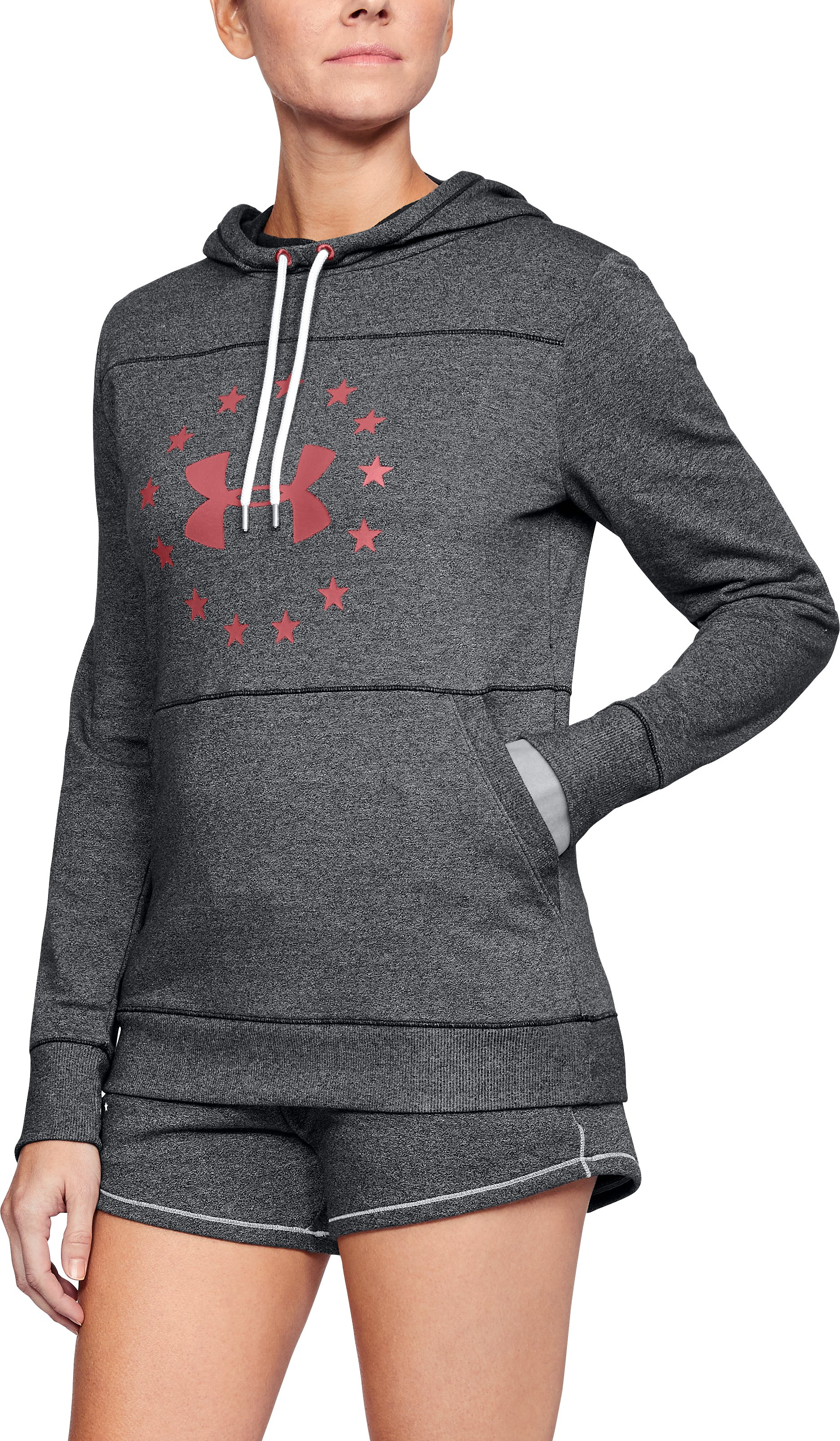 Women's UA Freedom Microthread Hoodie, BLACK MEDIUM HEATHER