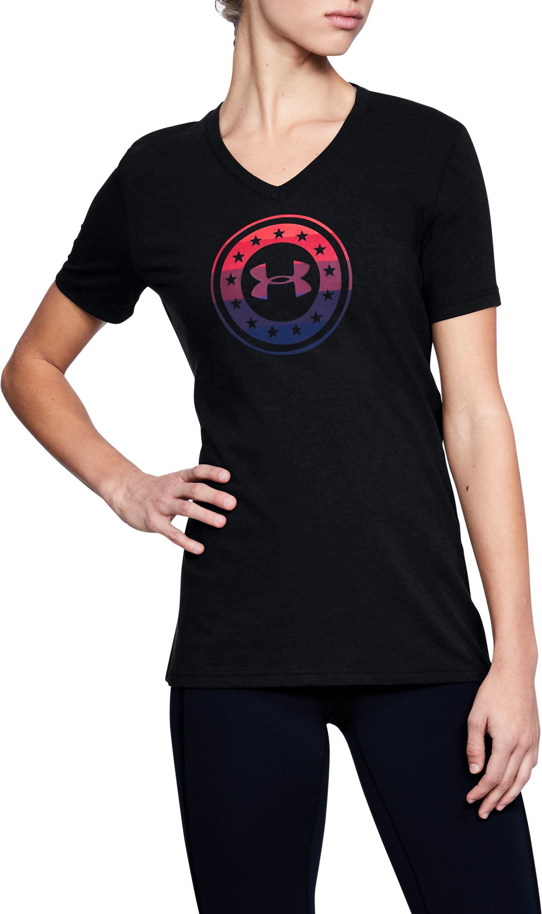 Women's UA Freedom Circle V-Neck T-Shirt, Black ,