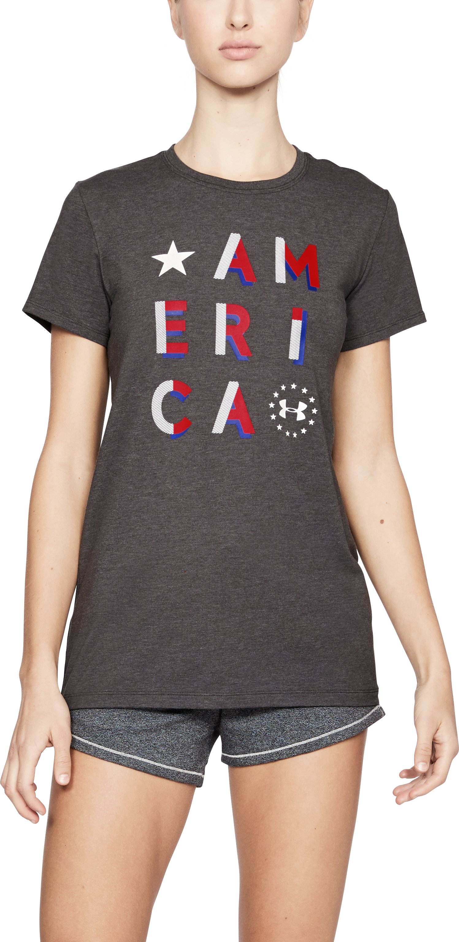 Women's UA Freedom America T-Shirt, CHARCOAL MEDIUM HEATHER