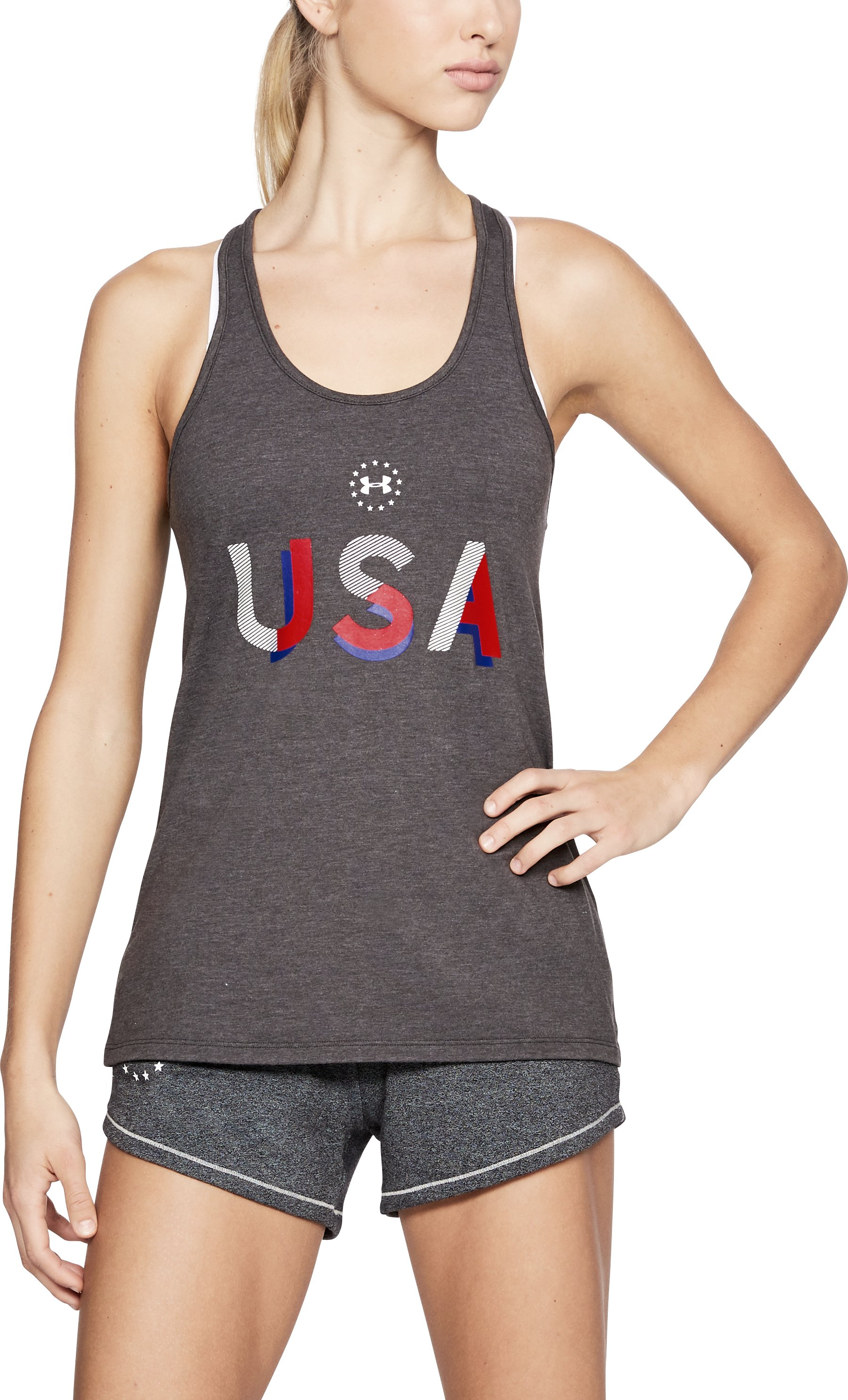 Women's UA USA Tank, CHARCOAL MEDIUM HEATHER, undefined