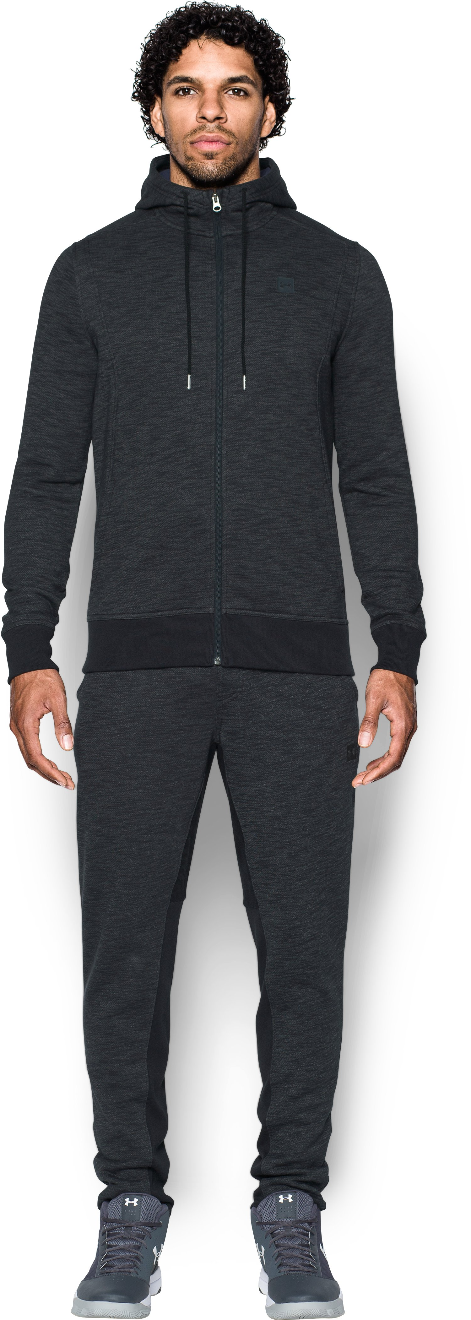 Men's UA Baseline Full Zip Hoodie, Black , Front
