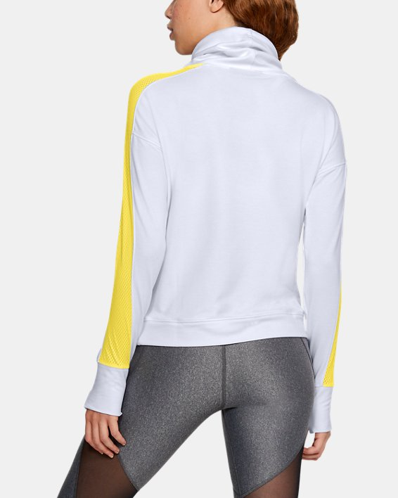 Women's UA Featherweight Fleece Funnel Neck, White, pdpMainDesktop image number 2