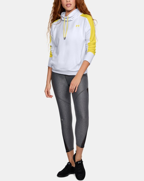 Women's UA Featherweight Fleece Funnel Neck, White, pdpMainDesktop image number 1