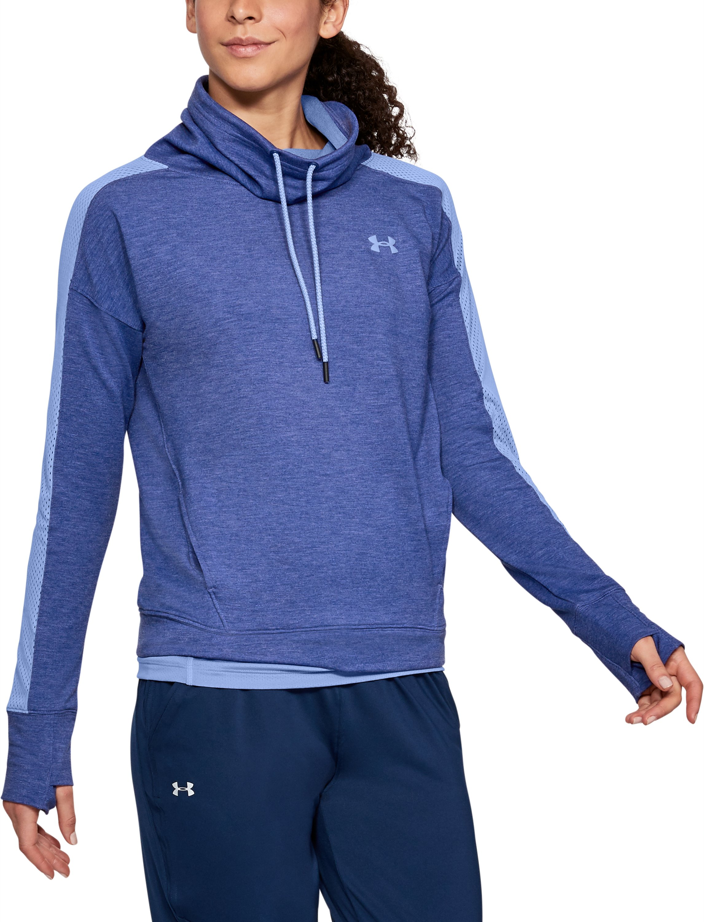 Women's UA Featherweight Fleece Funnel Neck, FORMATION BLUE,