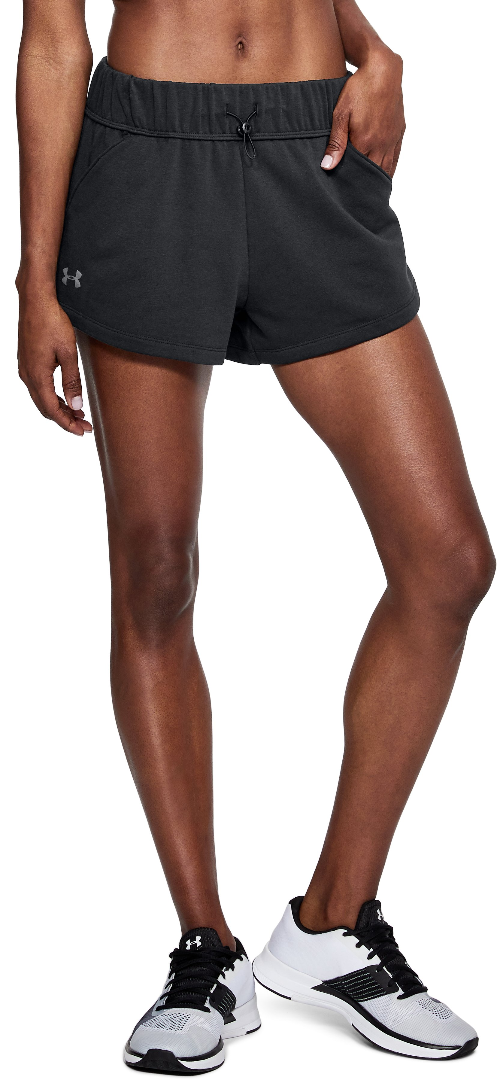 Women's UA Microthread Terry Shorts, Black