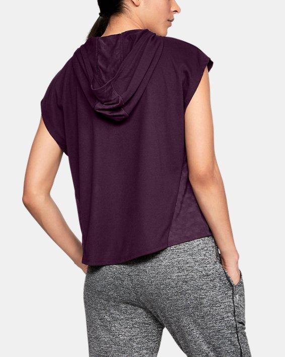 Women's UA Essentials Burnout Short Sleeve Hoodie, Purple, pdpMainDesktop image number 2