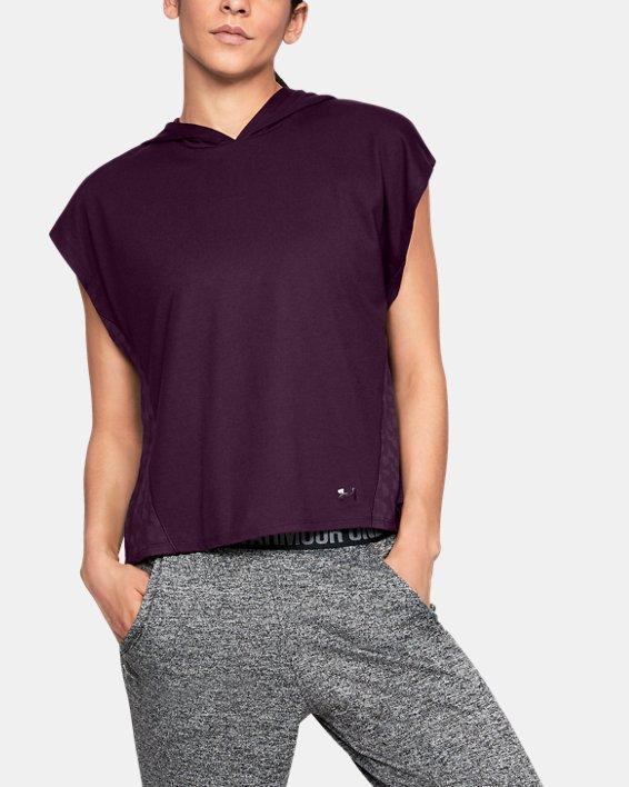 Women's UA Essentials Burnout Short Sleeve Hoodie, Purple, pdpMainDesktop image number 0