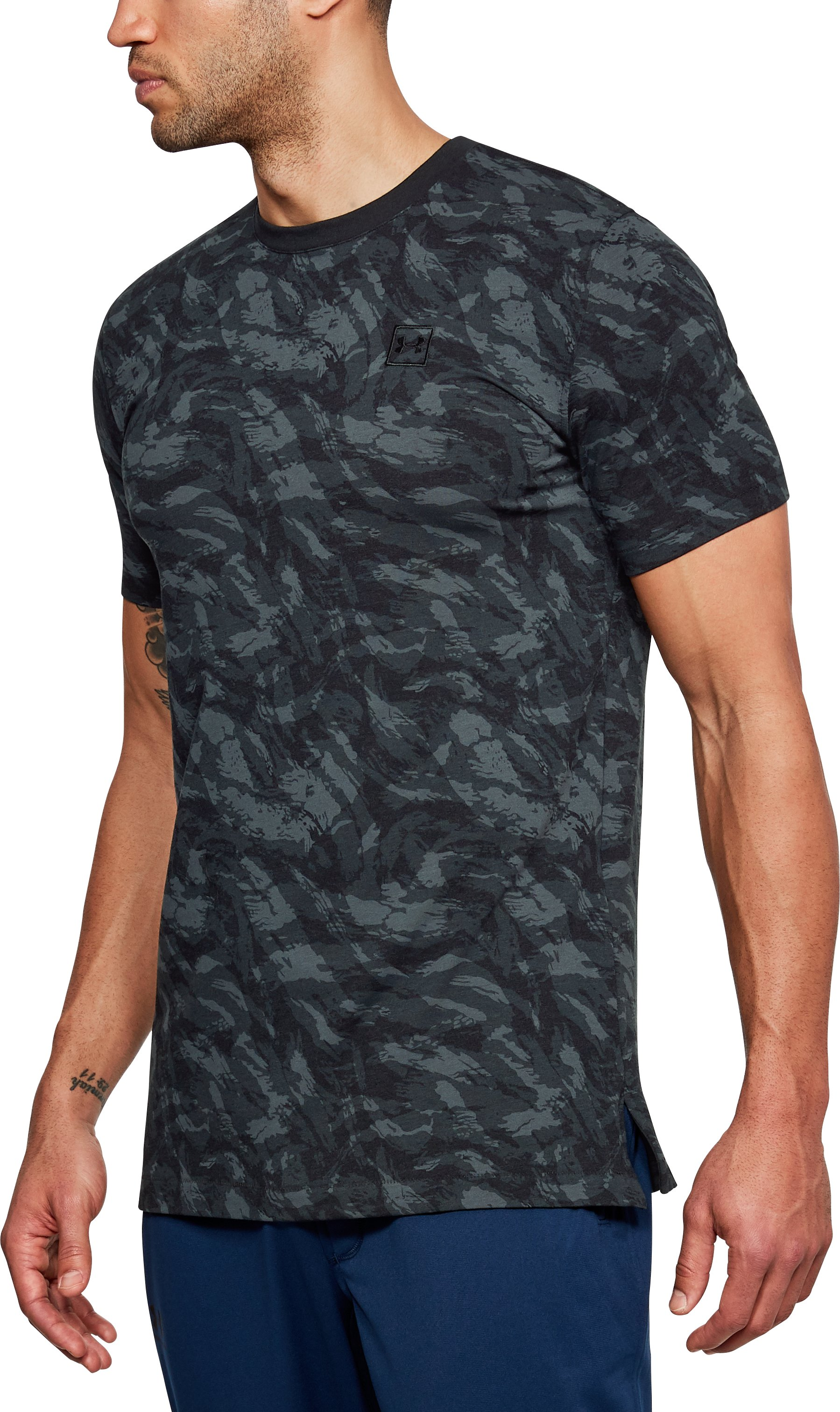 Men's UA Sportstyle Printed Short Sleeve, Black ,