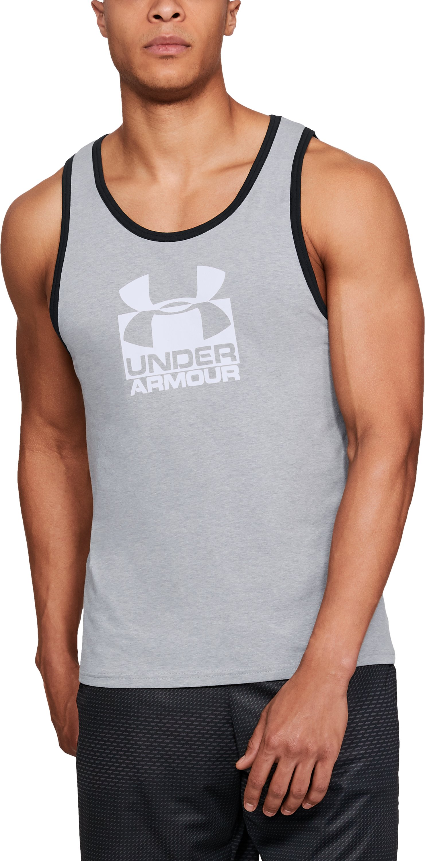 Men's UA Split Sportstyle Tank, STEEL LIGHT HEATHER
