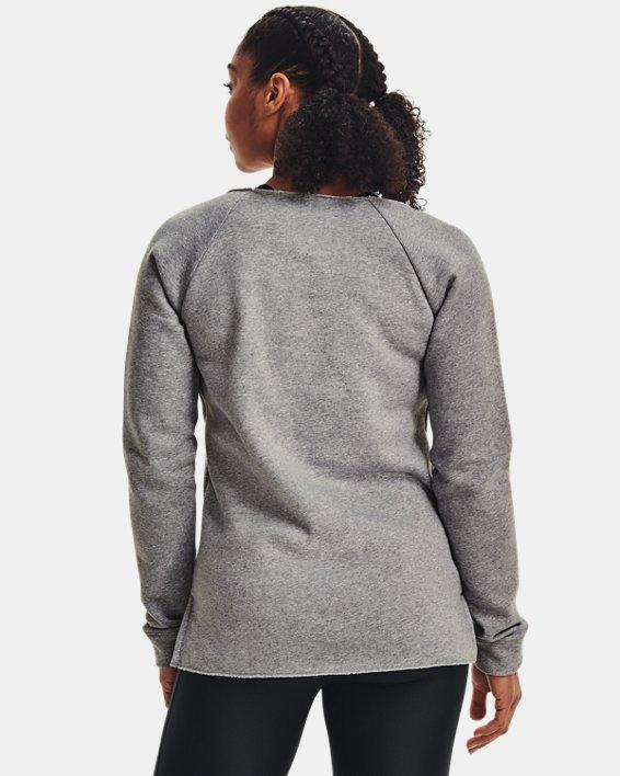 Women's UA Hustle Fleece Crew, Gray, pdpMainDesktop image number 2
