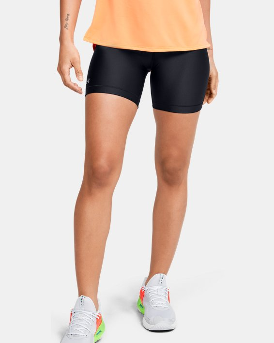 Women's HeatGear® Armour Mid Shorts, Black, pdpMainDesktop image number 0