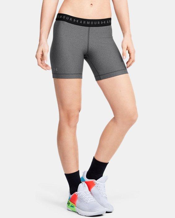 Women's HeatGear® Armour Mid Shorts, Gray, pdpMainDesktop image number 0
