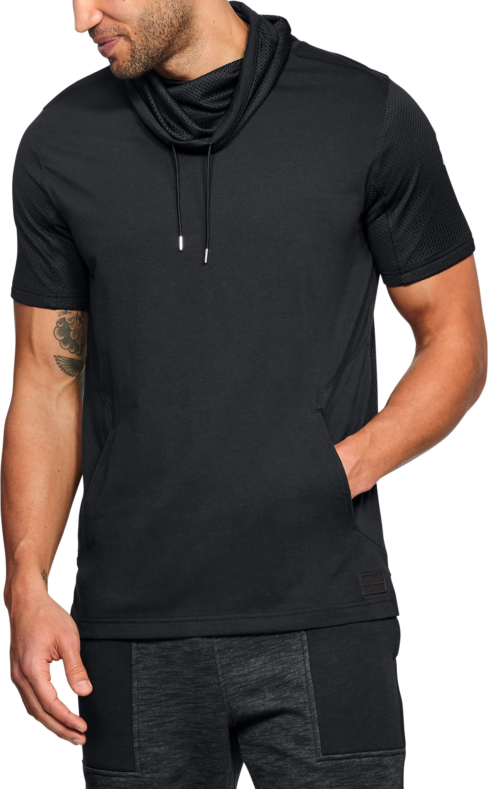 Men's UA Pursuit Funnel Neck Short Sleeve, Black , undefined