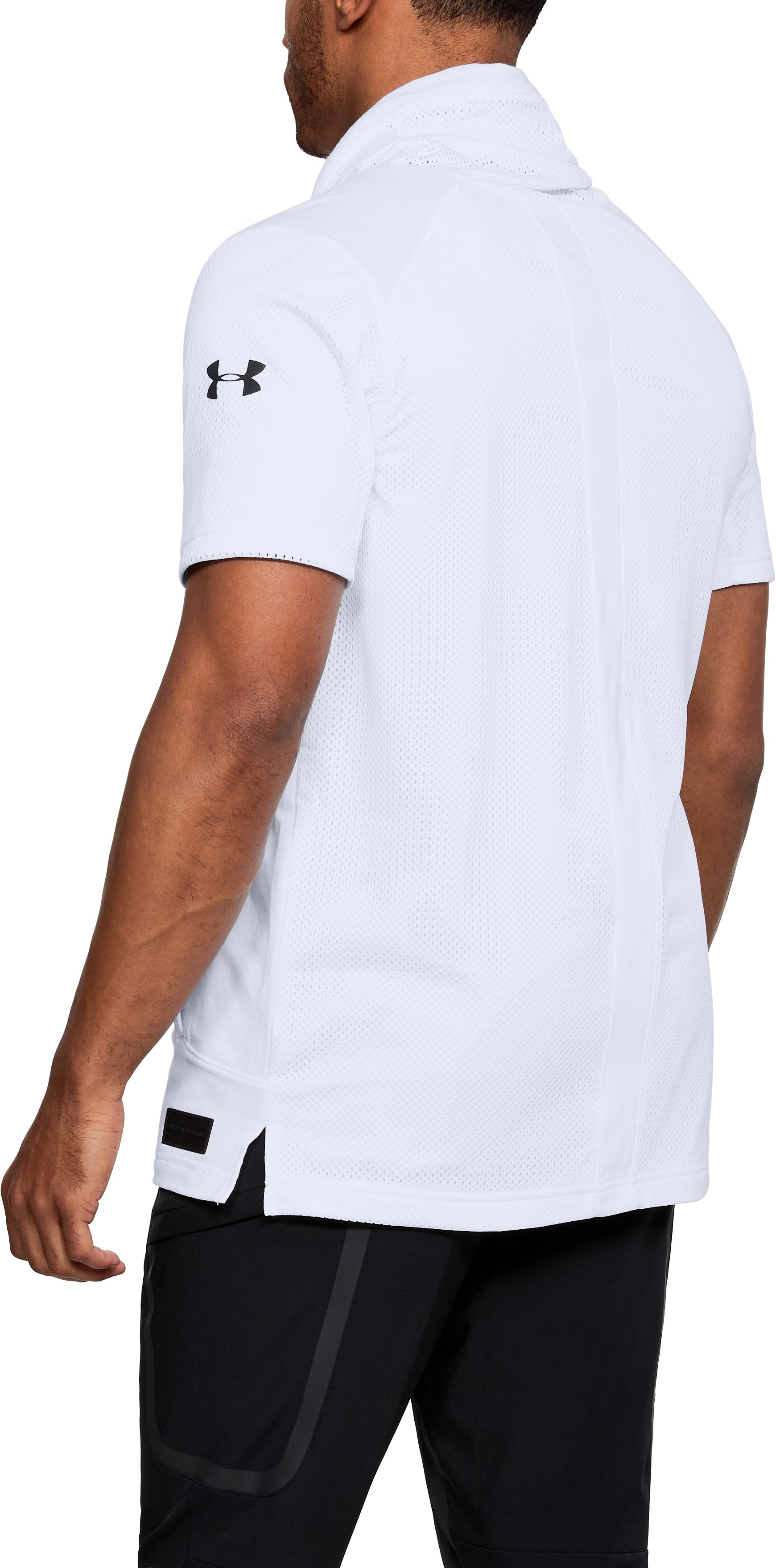 Men's UA Pursuit Funnel Neck Short Sleeve, White,