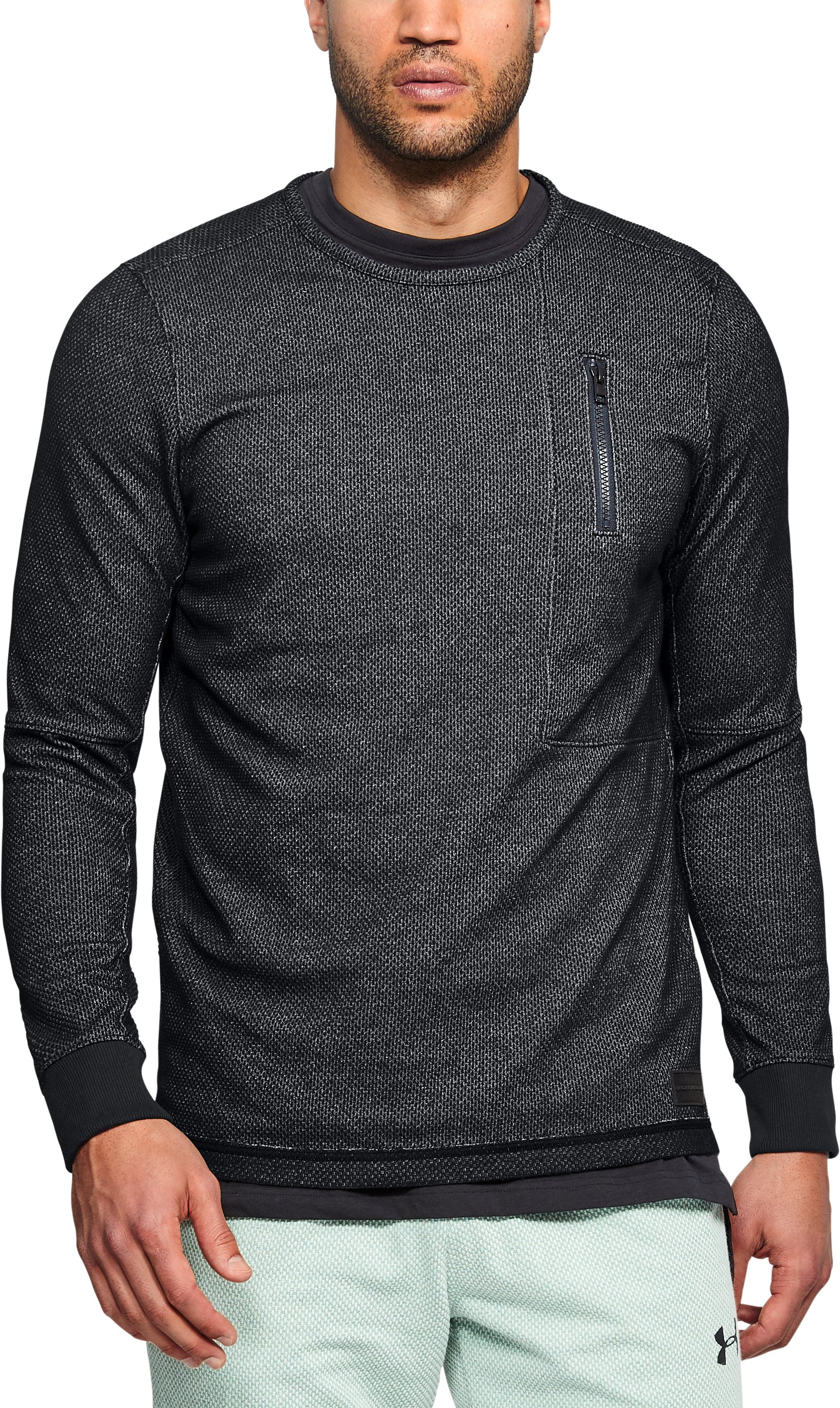 Men's UA Pursuit Block Fleece Crew, Black