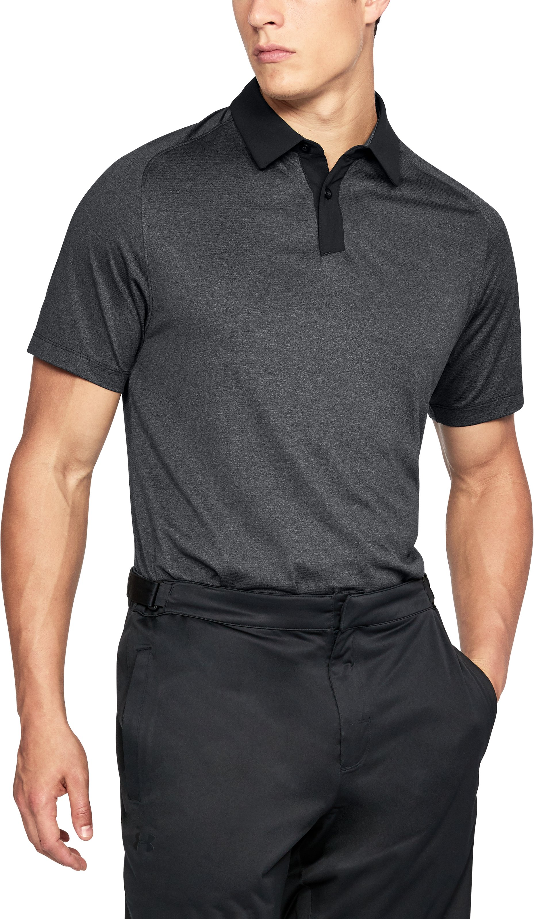 Men's UA Threadborne Polo, BLACK FULL HEATHER