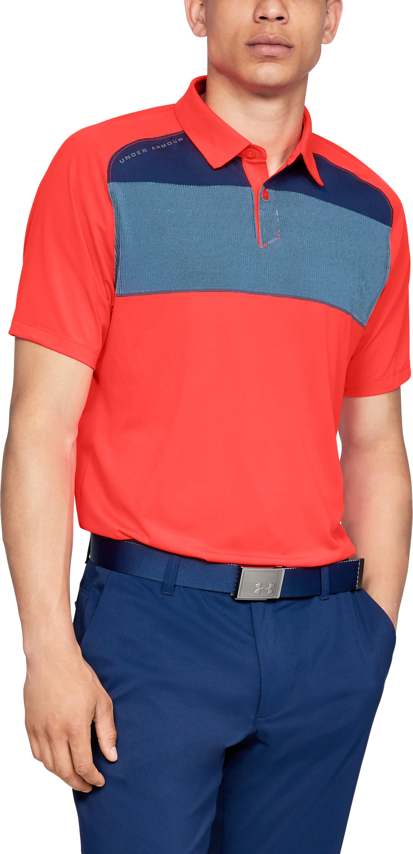 Men's UA Threadborne Infinite Polo, NEON CORAL