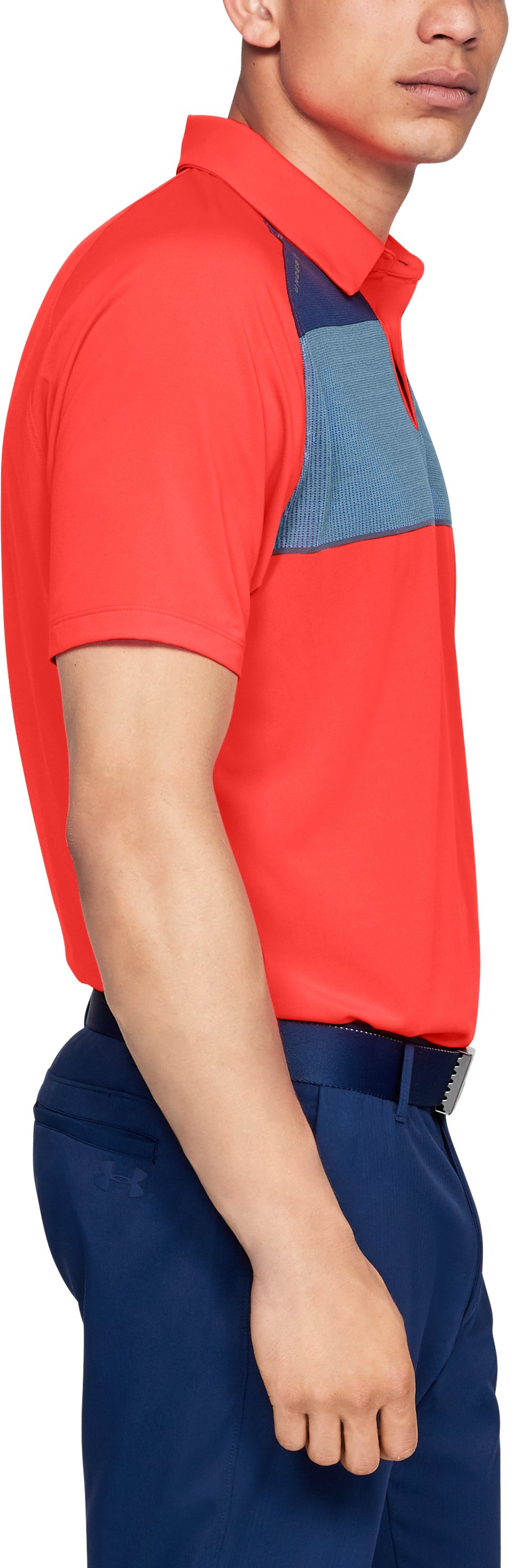 Men's UA Threadborne Infinite Polo, NEON CORAL,