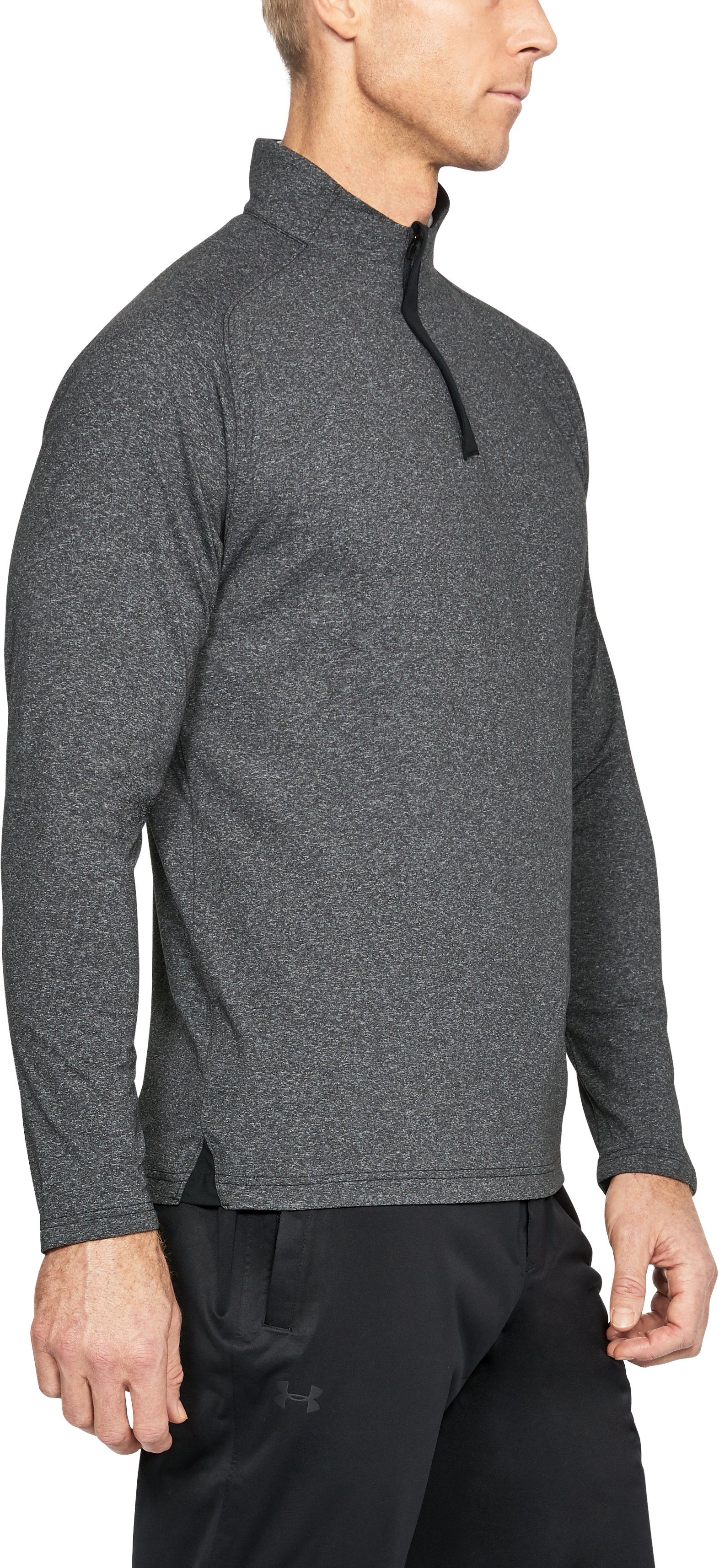 Men's UA Threadborne ¼ Zip, BLACK LIGHT HEATHER,