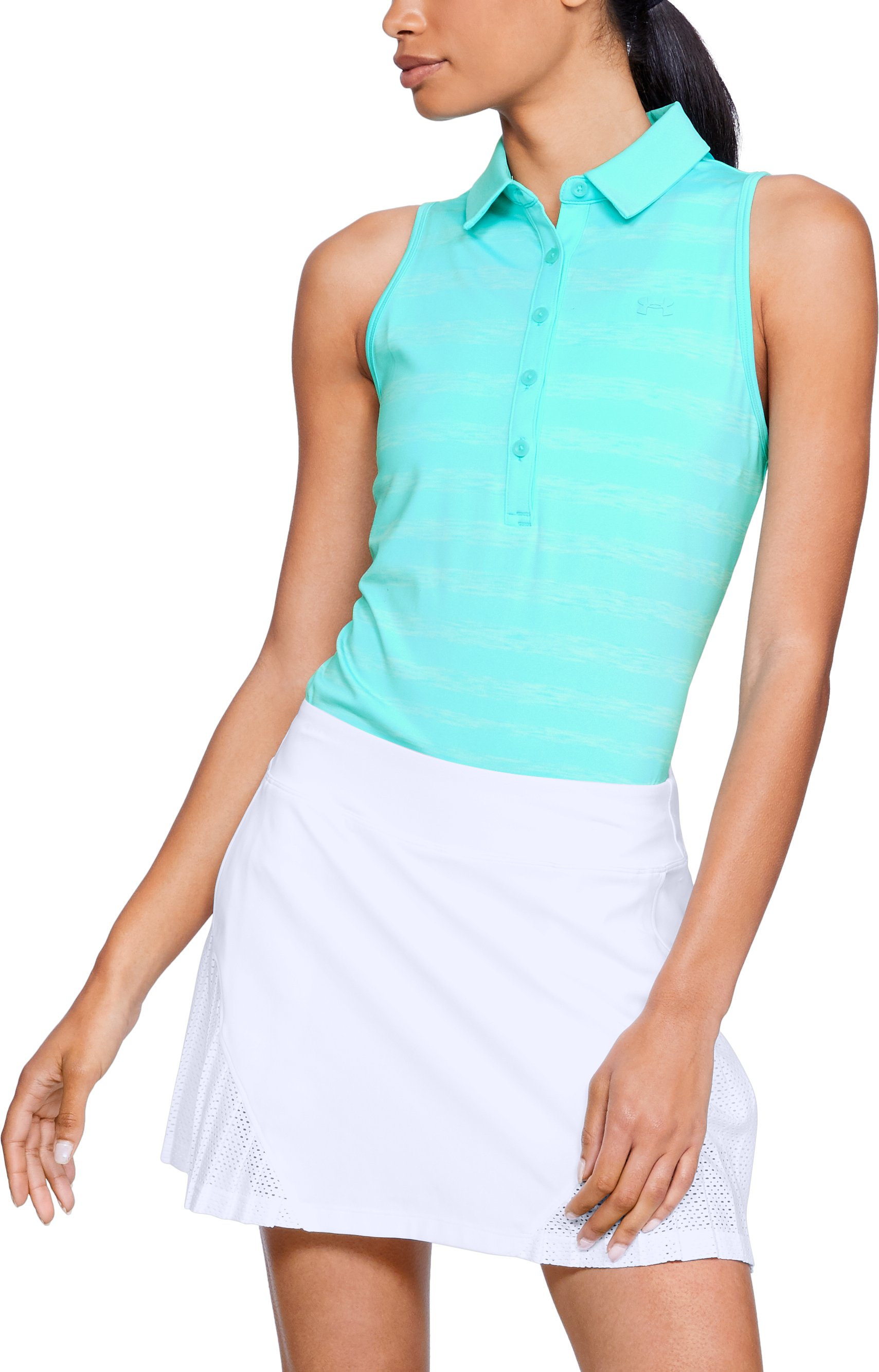 Women's UA Zinger Sleeveless Printed Polo, TROPICAL TIDE,